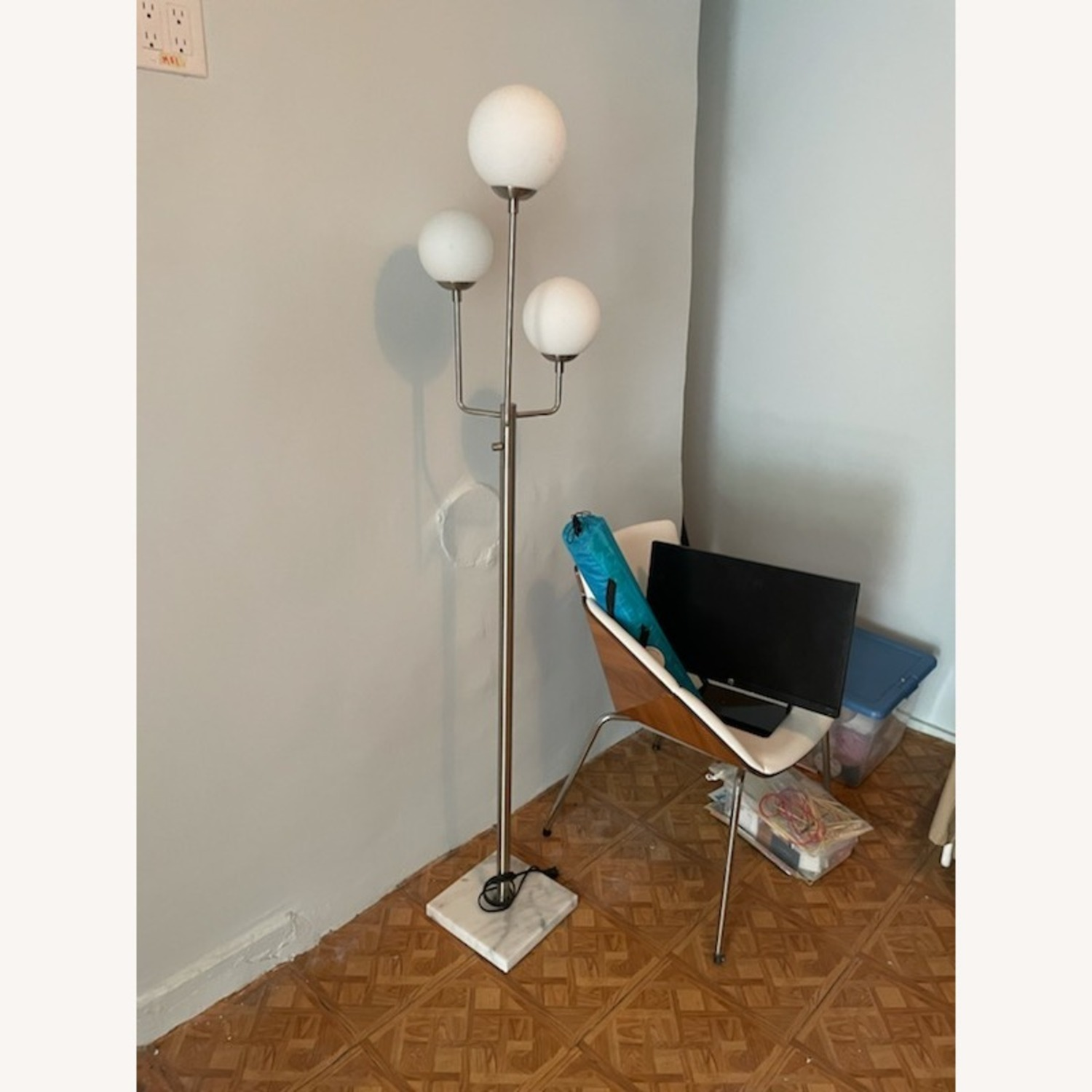 Marble Base Silver Floor Lamp - image-2