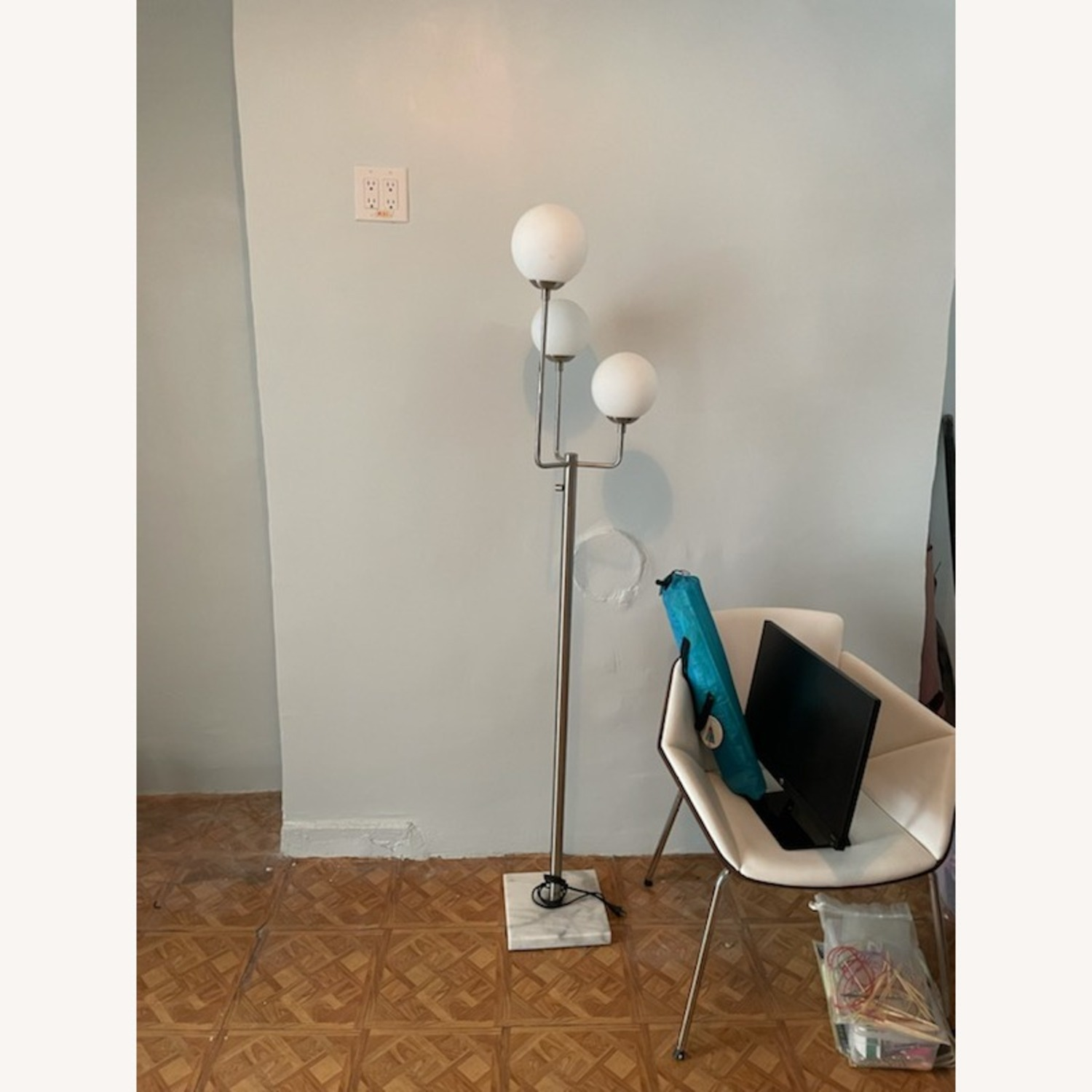 Marble Base Silver Floor Lamp - image-3