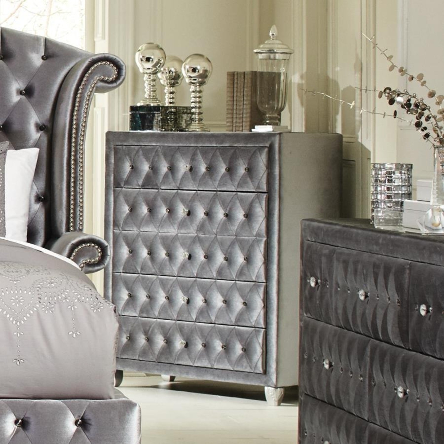 Chest In Grey Finish W/ Diamond Knobs - image-2