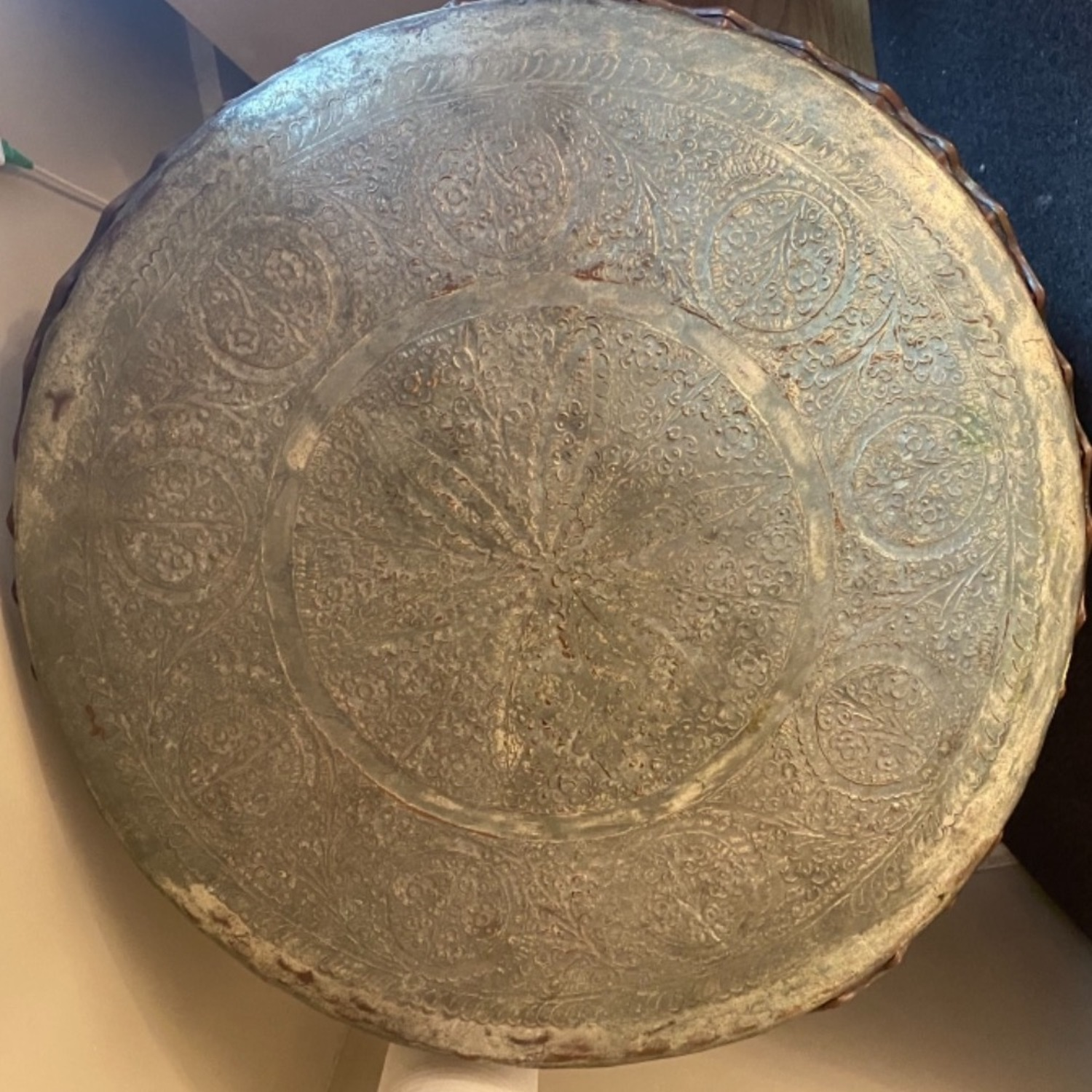 Ottoman Period Hammered Engraved Copper Tray - image-2