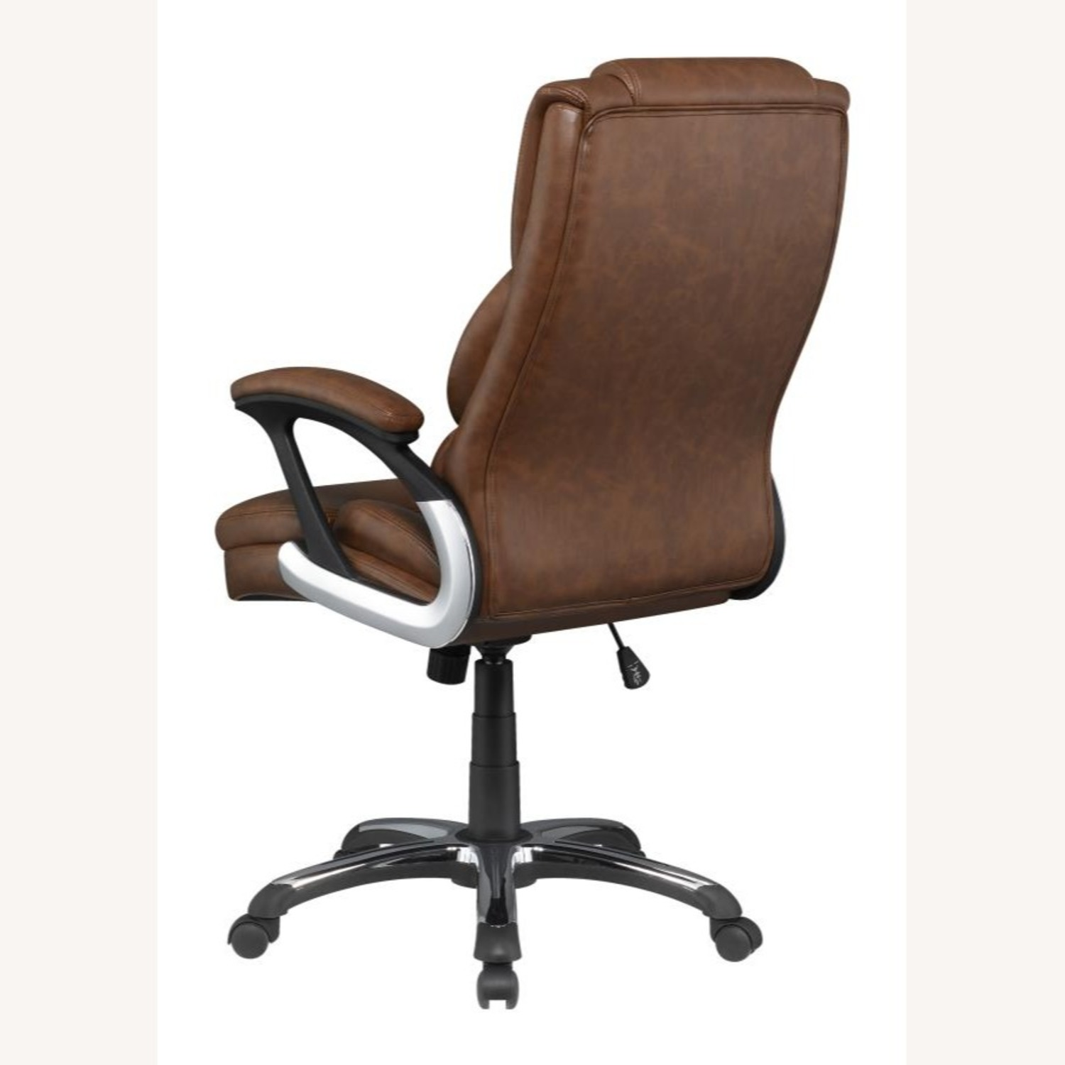 Office Chair In Tufted Brown Leatherette Finish - image-3