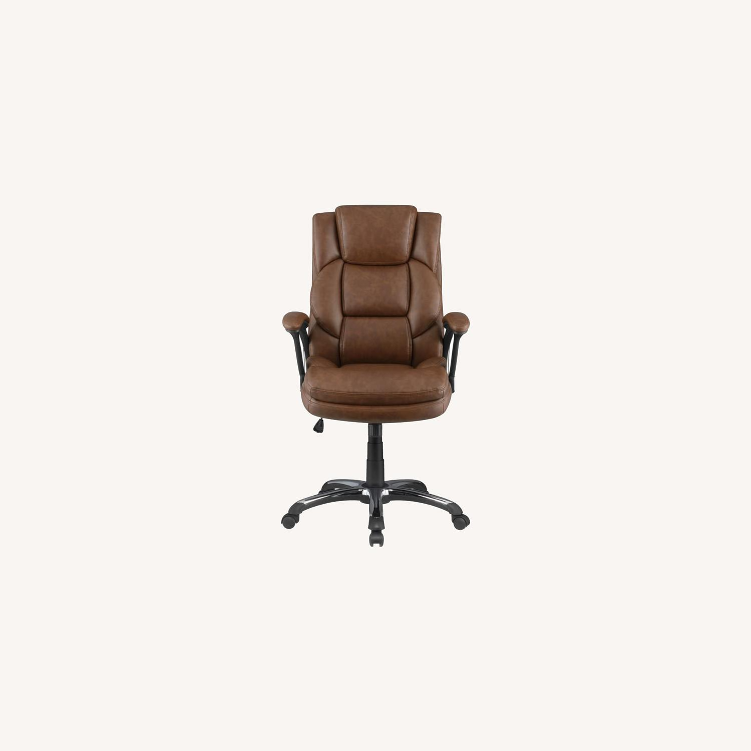 Office Chair In Tufted Brown Leatherette Finish - image-9