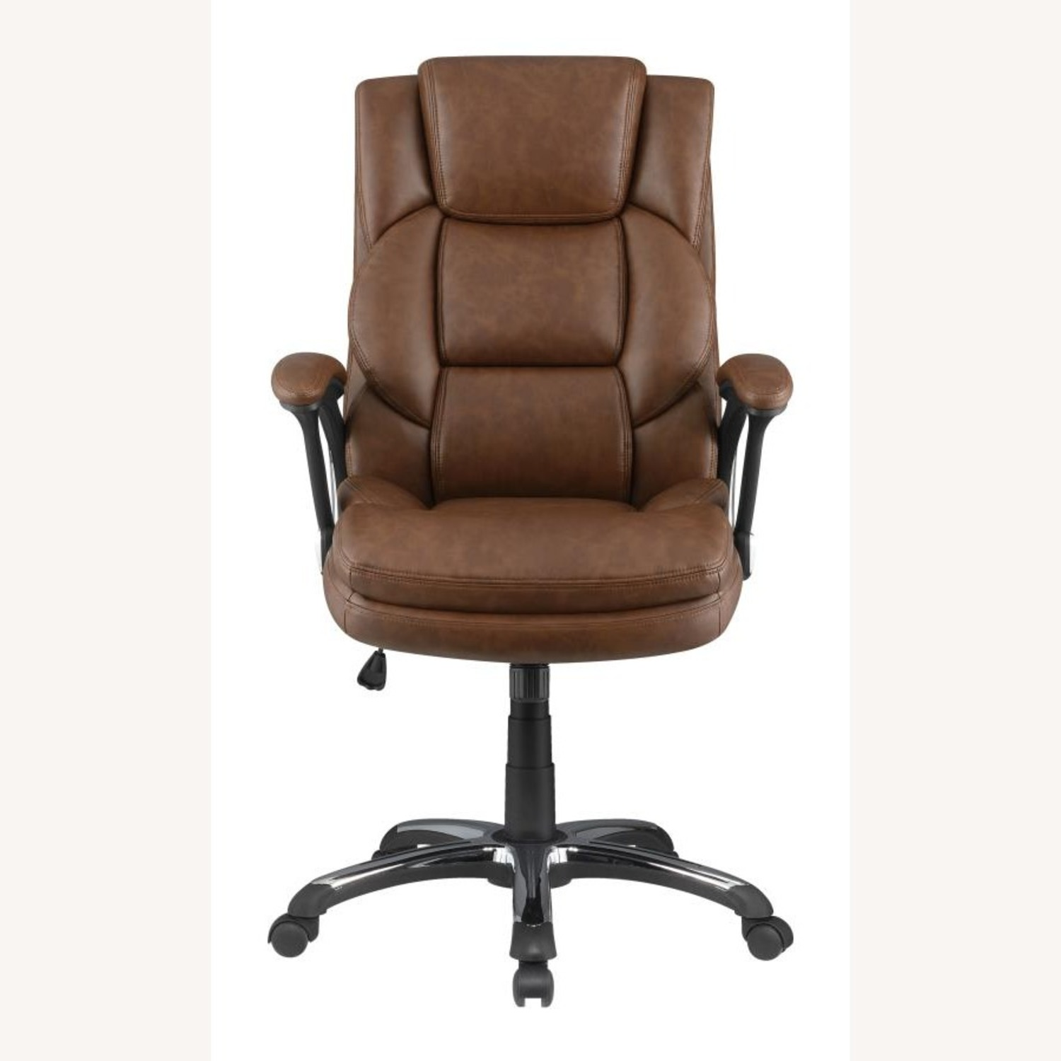 Office Chair In Tufted Brown Leatherette Finish - image-1