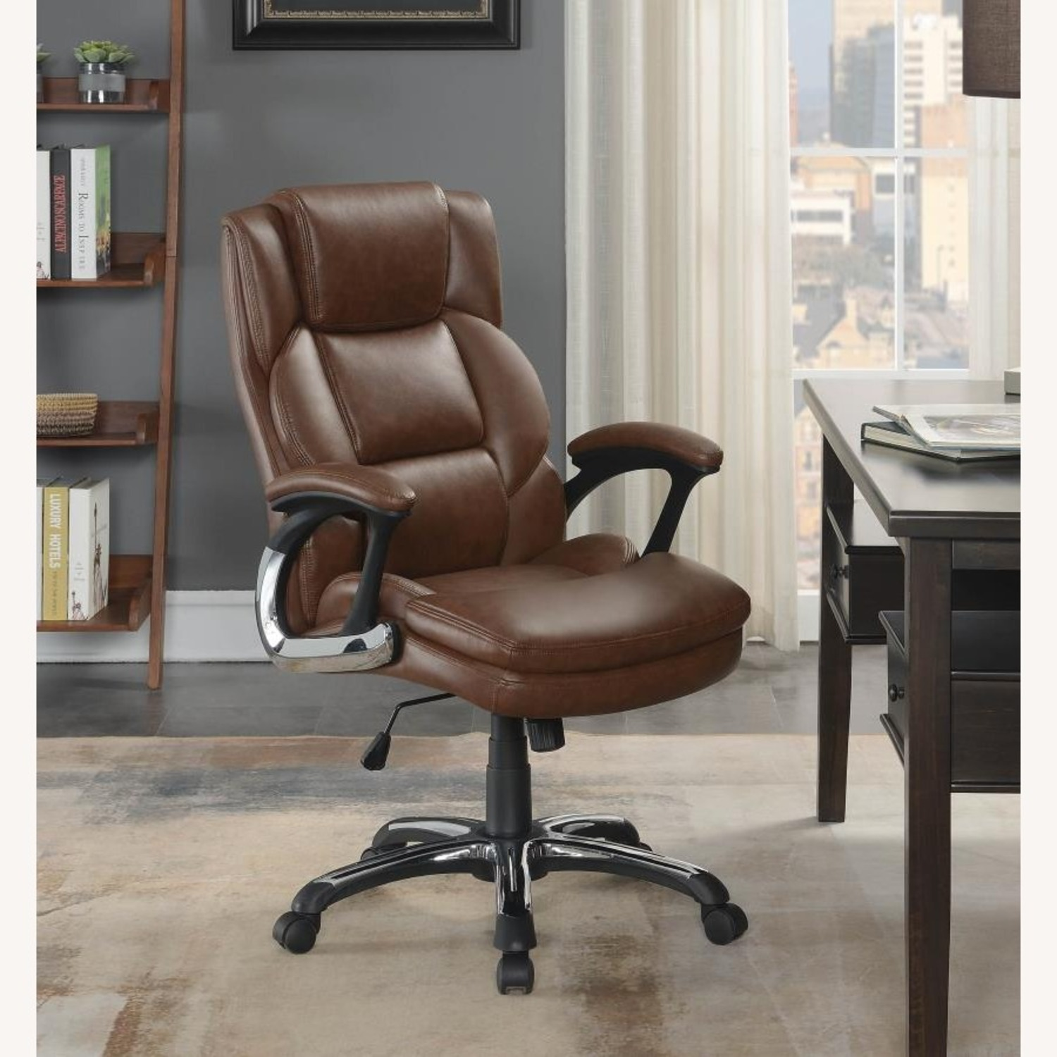 Office Chair In Tufted Brown Leatherette Finish - image-7