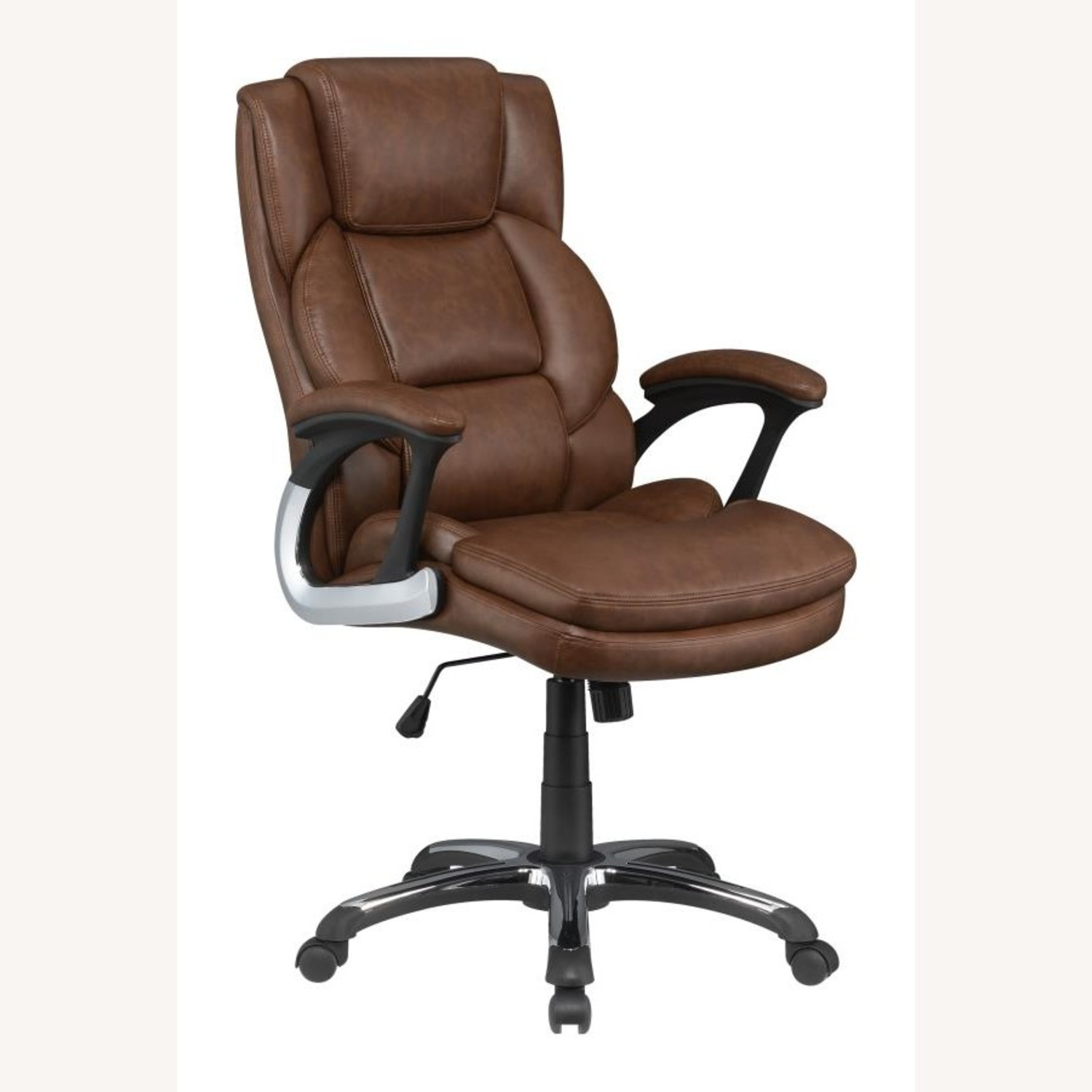 Office Chair In Tufted Brown Leatherette Finish - image-0