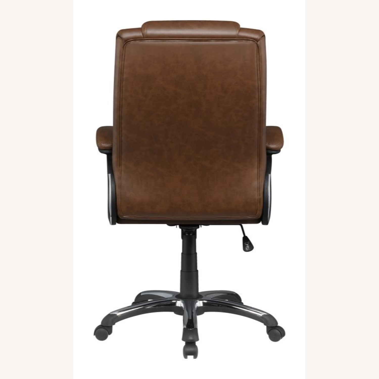 Office Chair In Tufted Brown Leatherette Finish - image-4