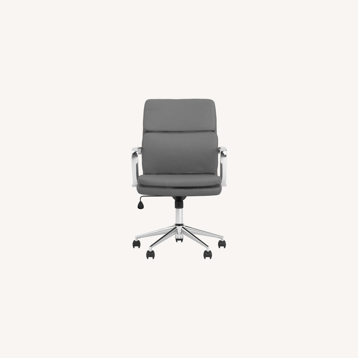 Office Chair In Grey Leatherette & Chrome Finish - image-9