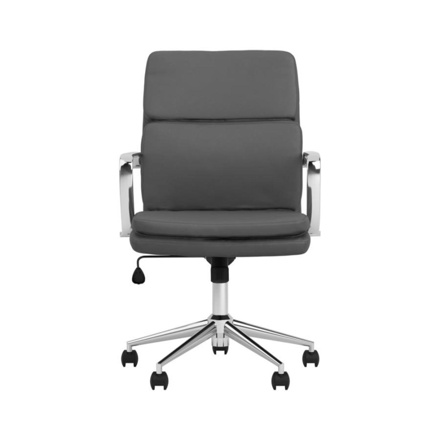 Office Chair In Grey Leatherette & Chrome Finish - image-1