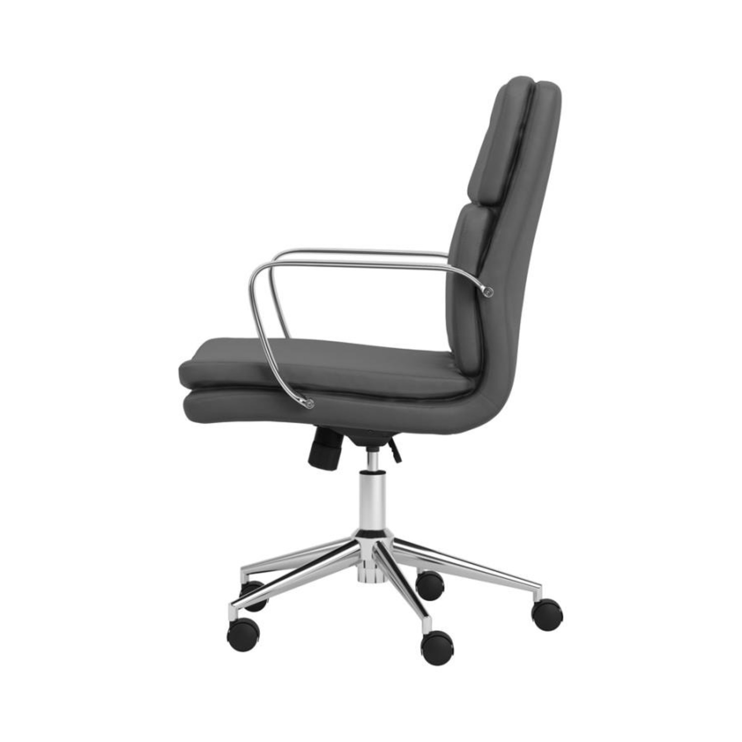 Office Chair In Grey Leatherette & Chrome Finish - image-2