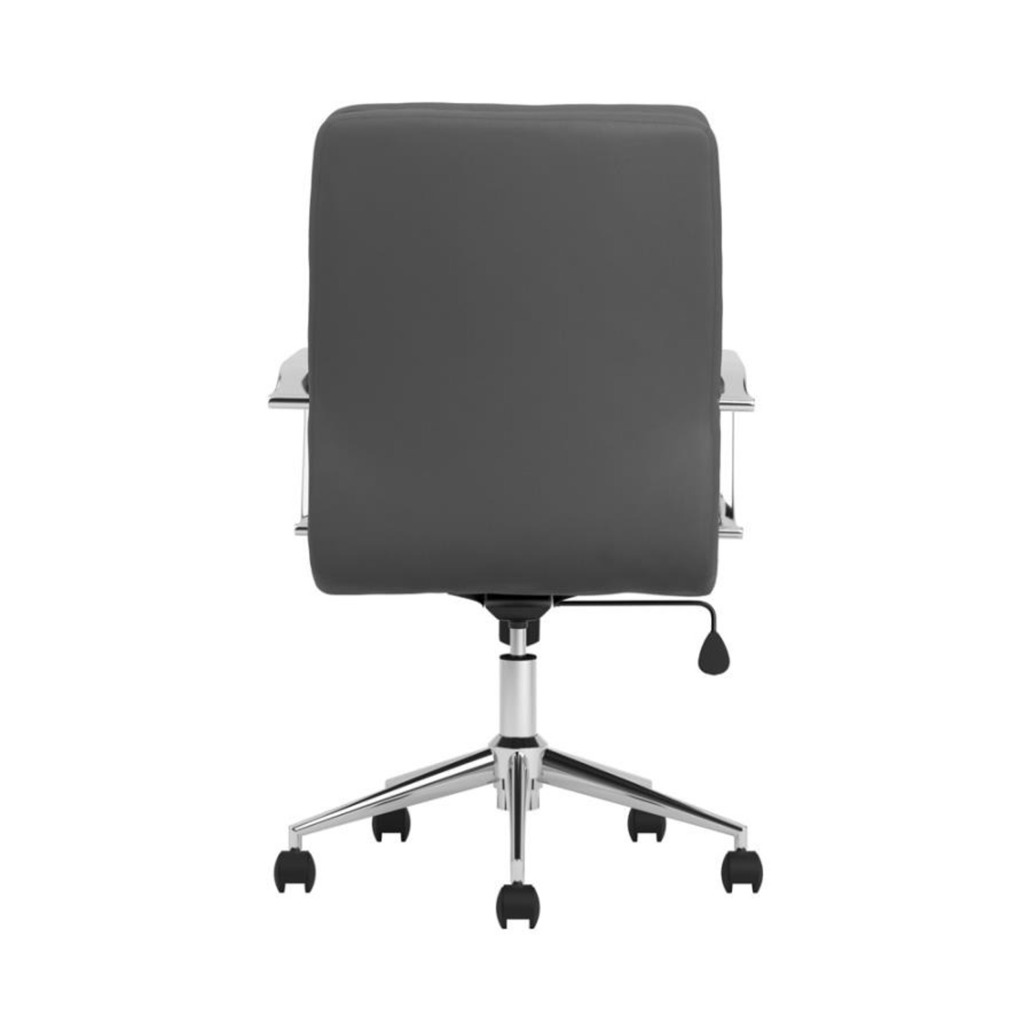 Office Chair In Grey Leatherette & Chrome Finish - image-4