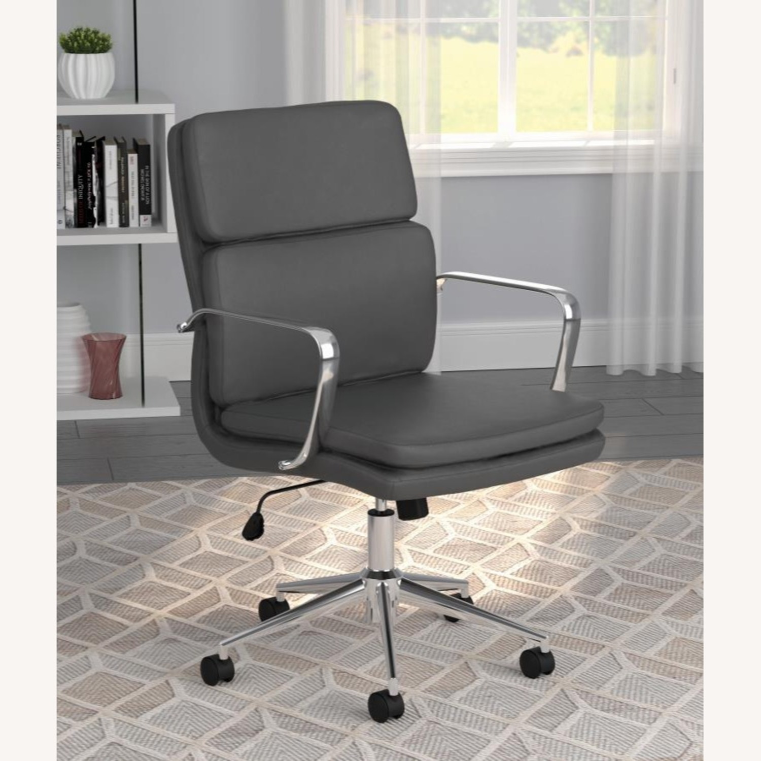 Office Chair In Grey Leatherette & Chrome Finish - image-7