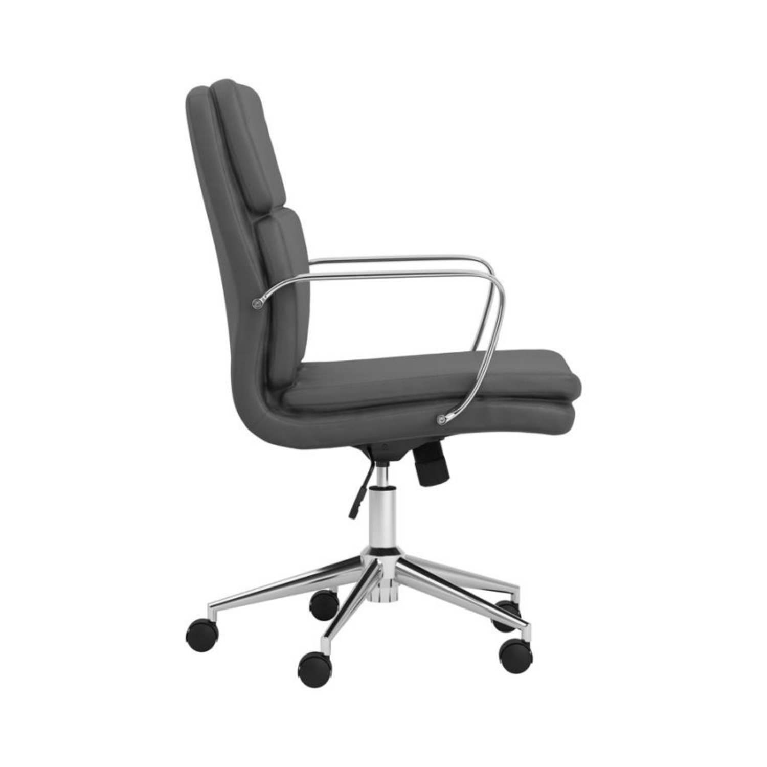 Office Chair In Grey Leatherette & Chrome Finish - image-5