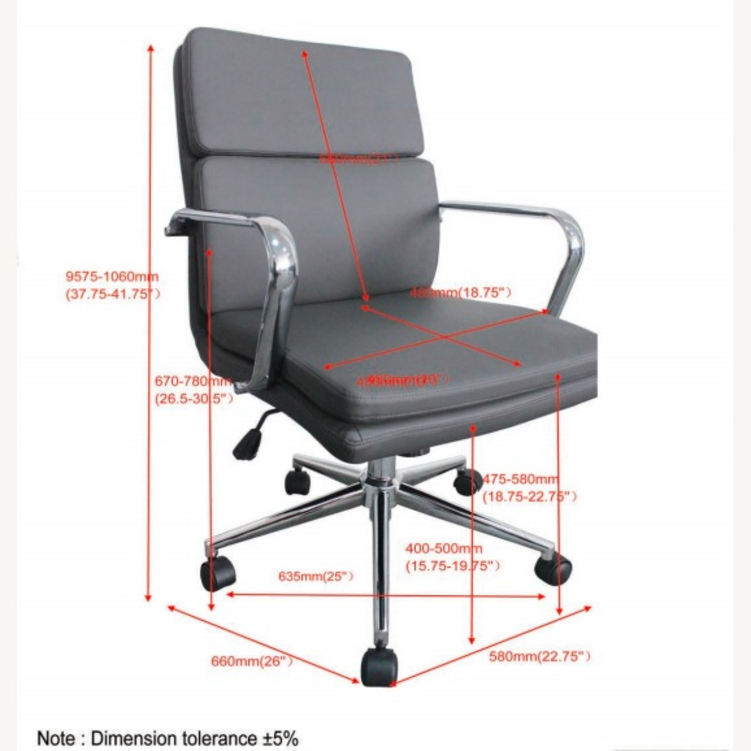 Office Chair In Grey Leatherette & Chrome Finish - image-8