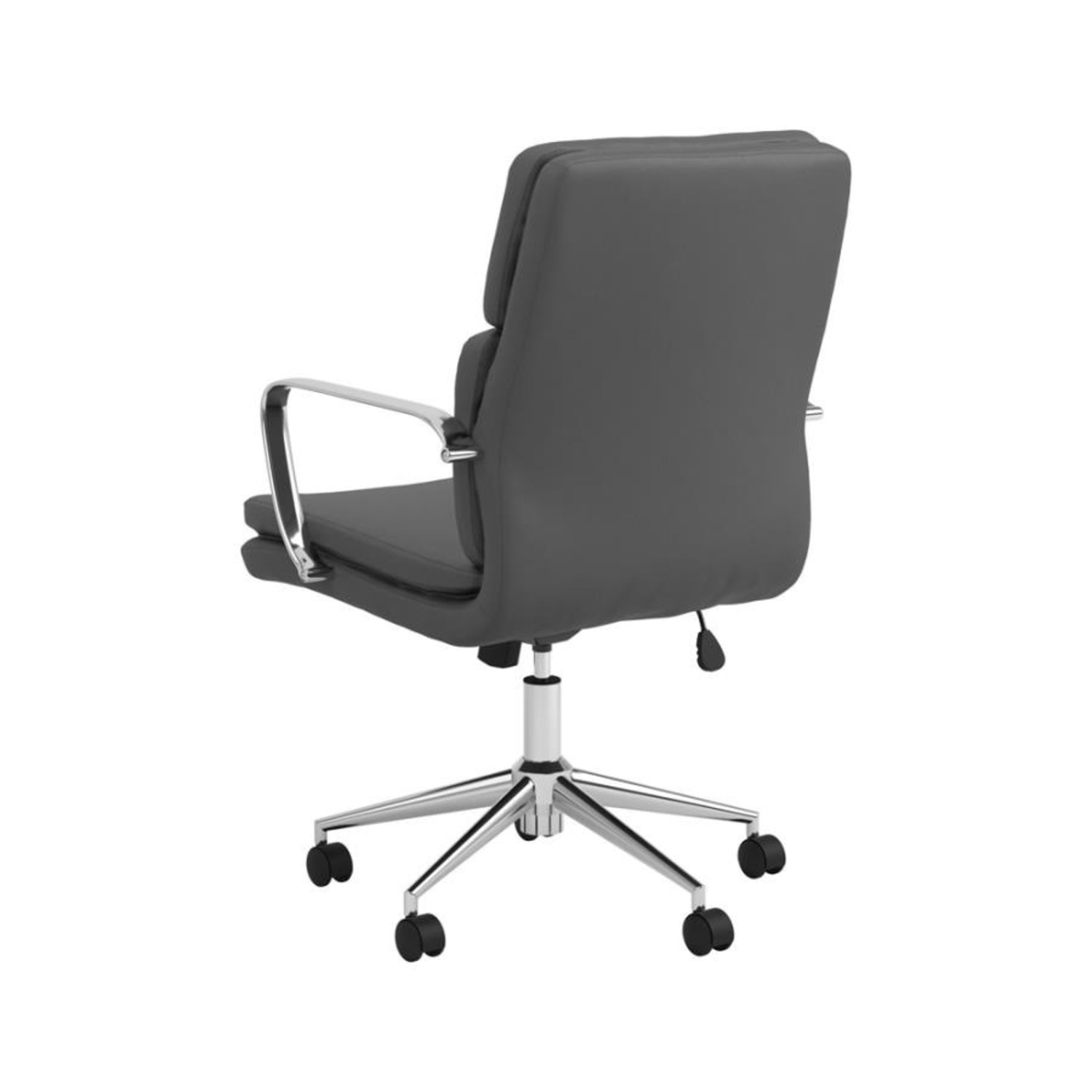 Office Chair In Grey Leatherette & Chrome Finish - image-3