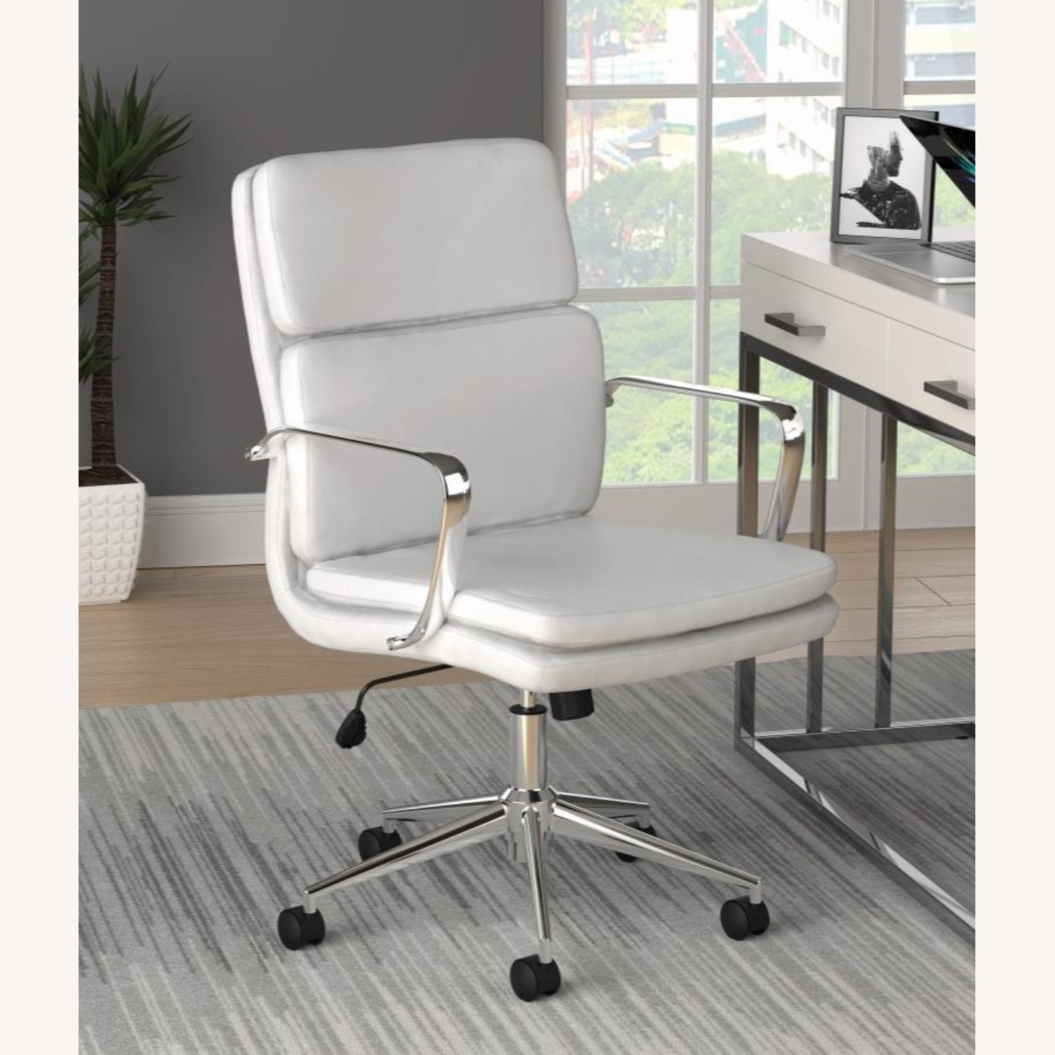 Office Chair In White Leatherette & Chrome Finish - image-7