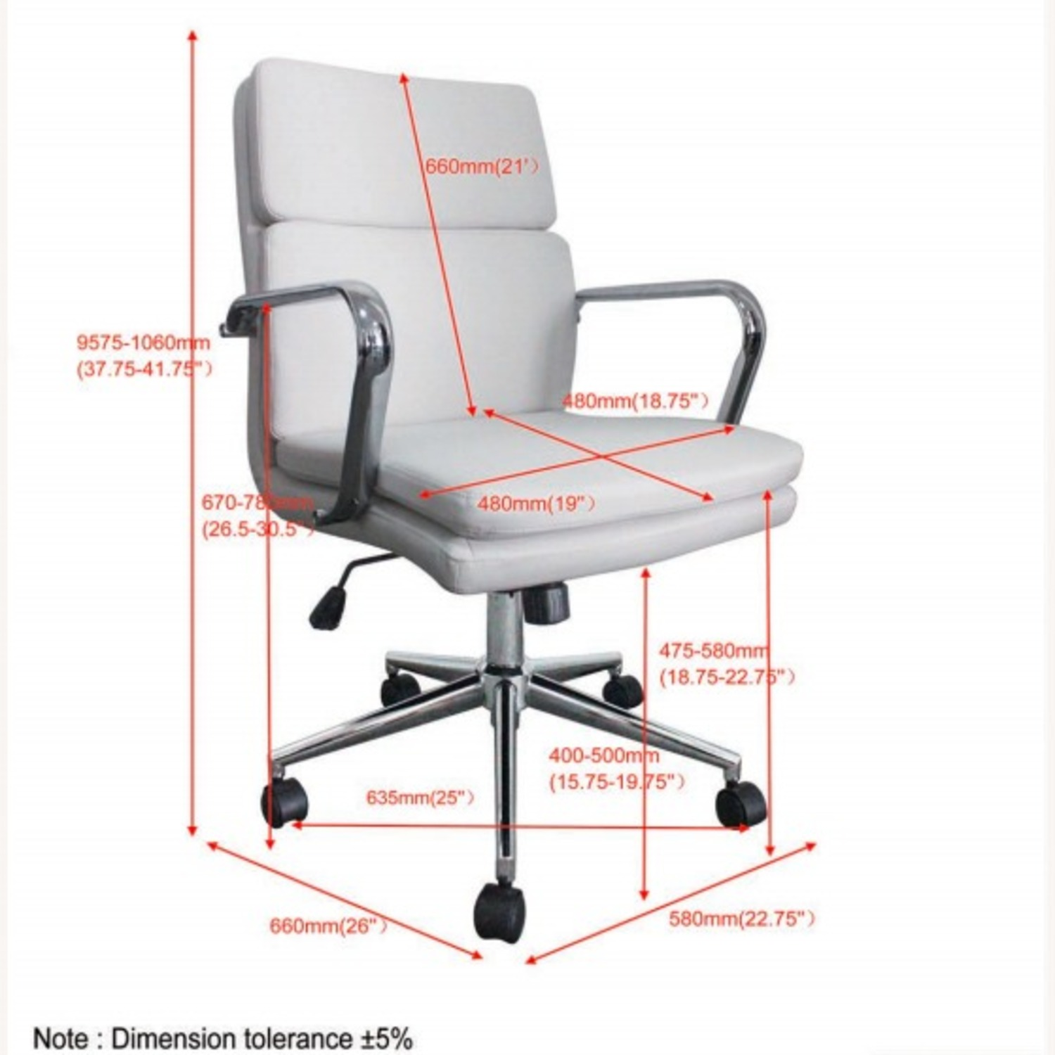 Office Chair In White Leatherette & Chrome Finish - image-8