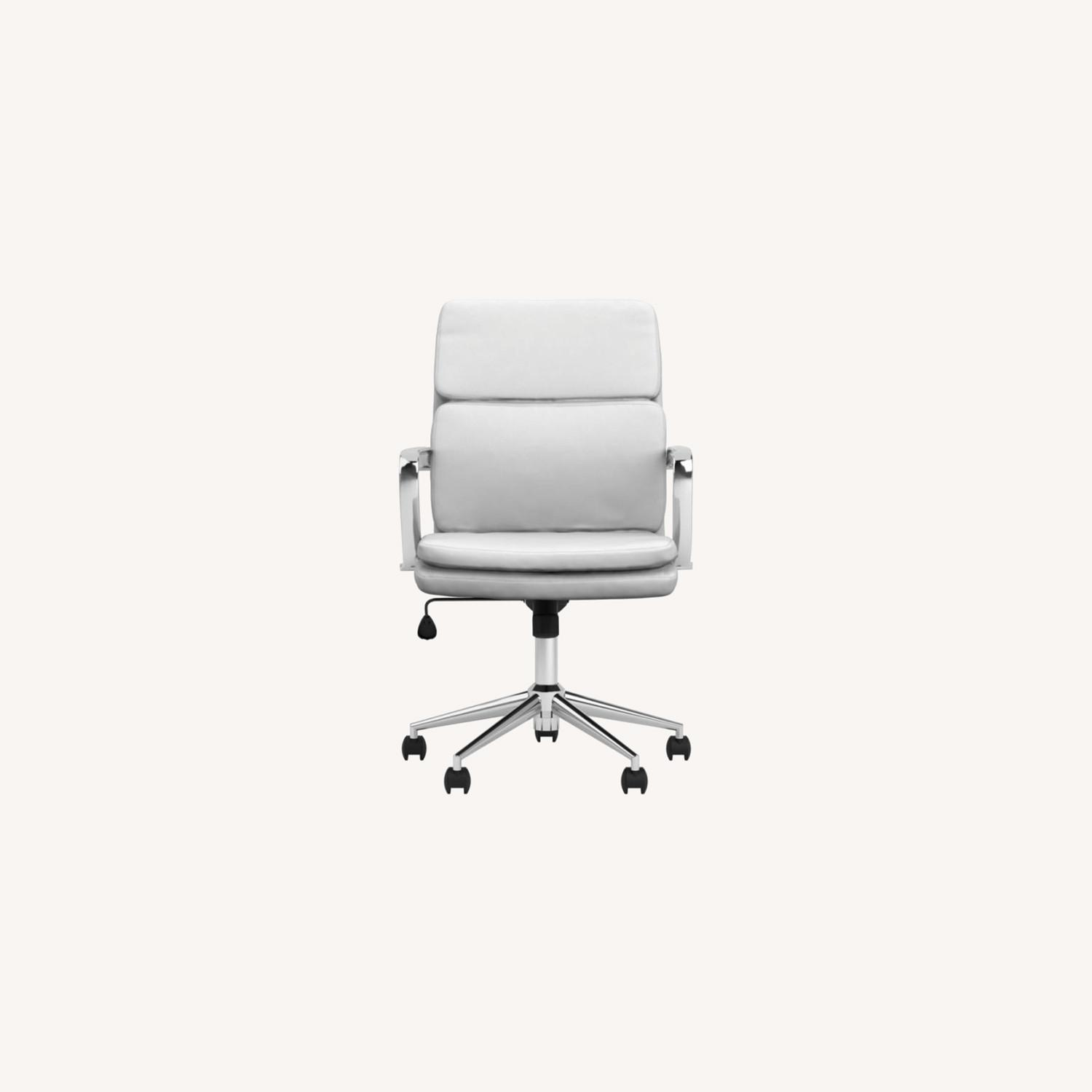 Office Chair In White Leatherette & Chrome Finish - image-9