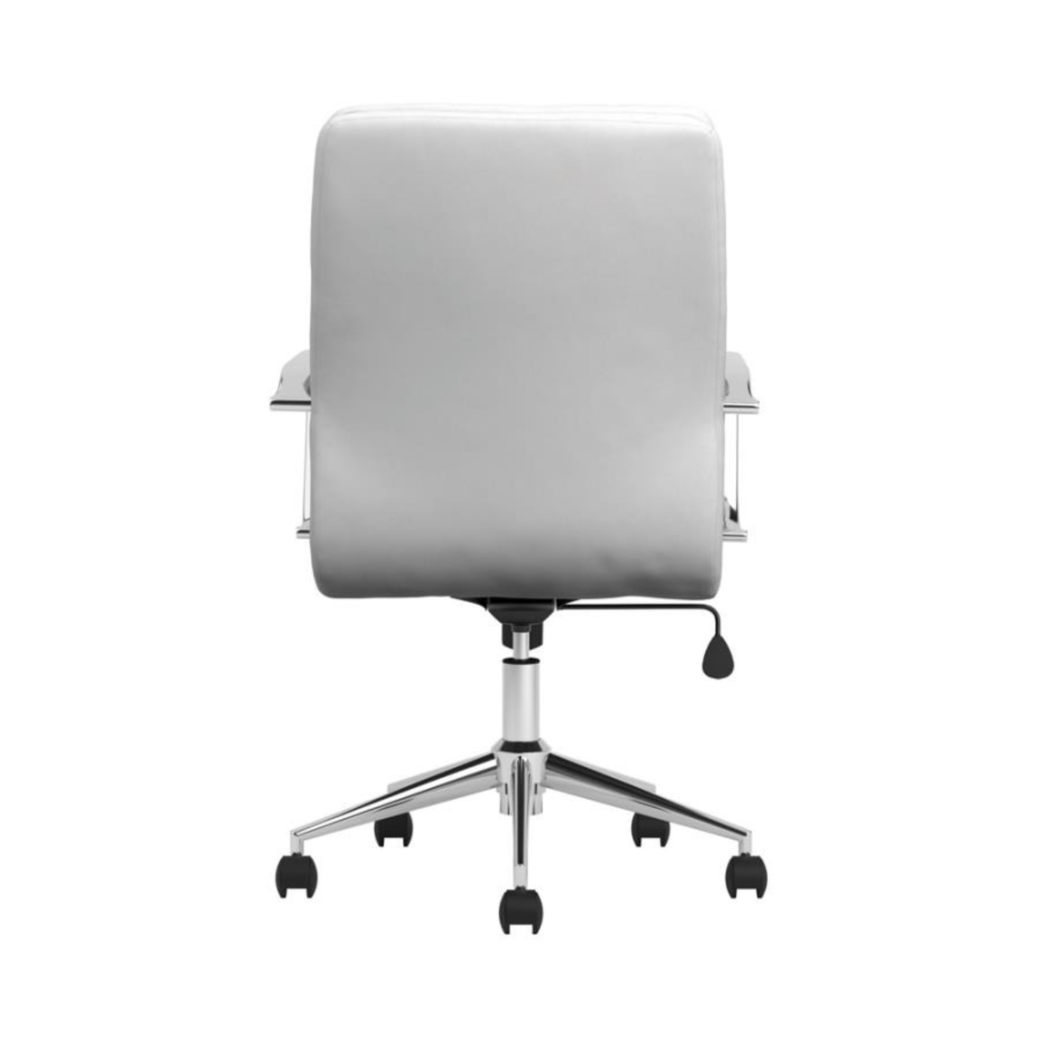 Office Chair In White Leatherette & Chrome Finish - image-4