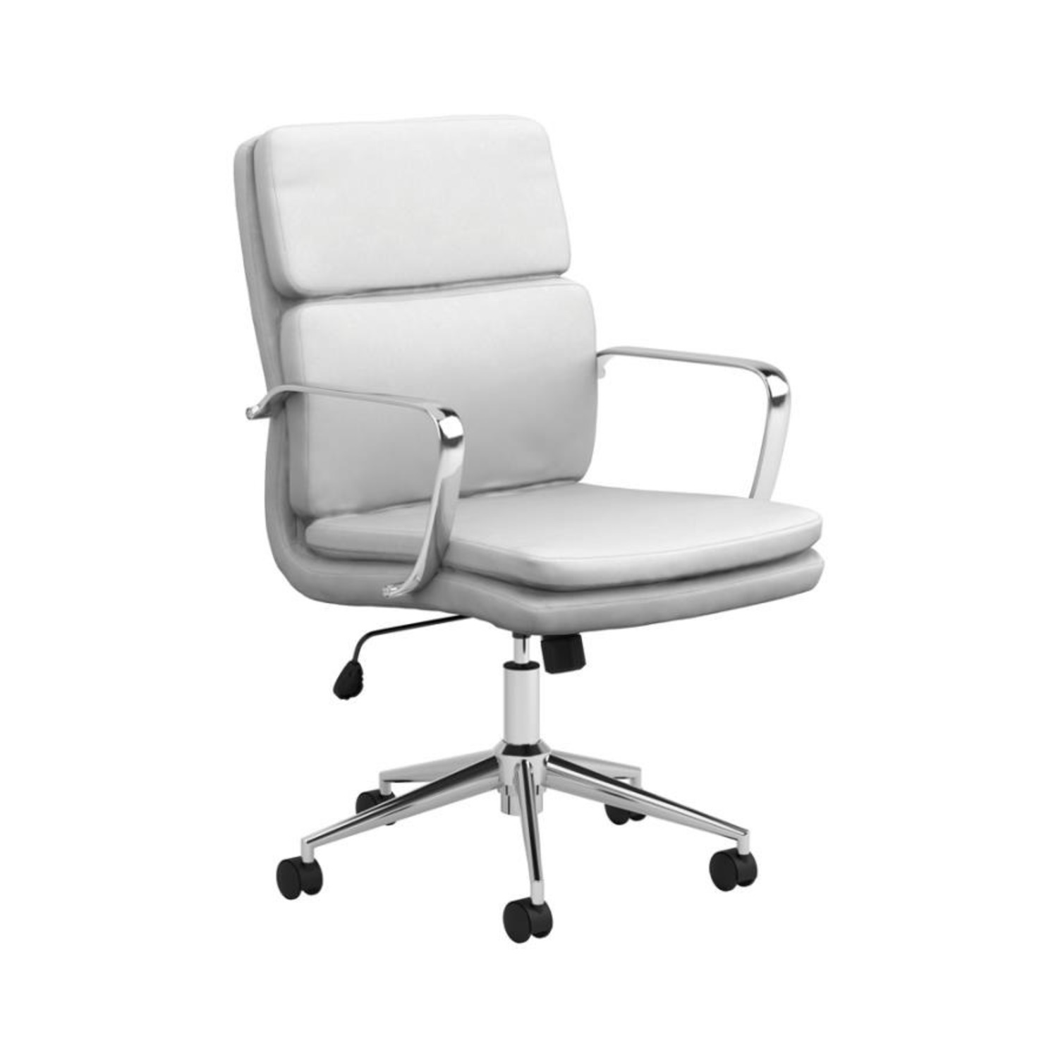 Office Chair In White Leatherette & Chrome Finish - image-0