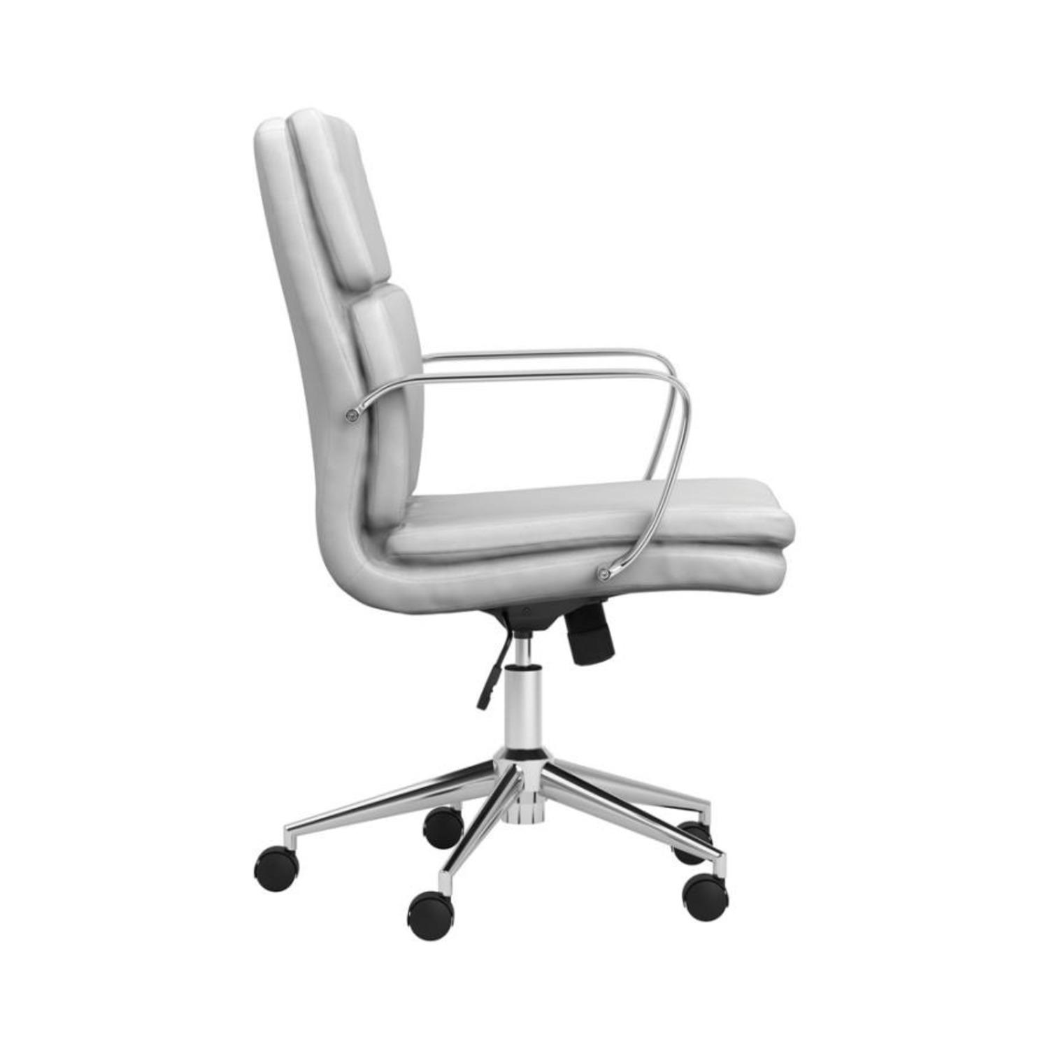 Office Chair In White Leatherette & Chrome Finish - image-5