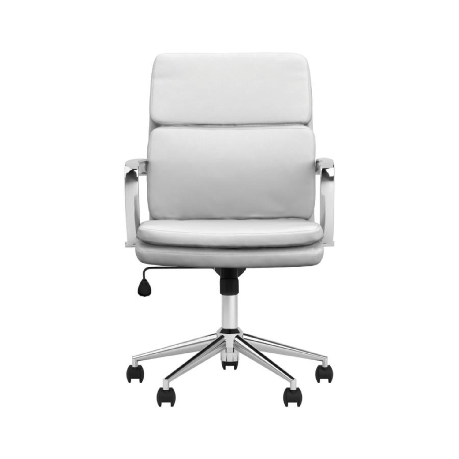 Office Chair In White Leatherette & Chrome Finish - image-1