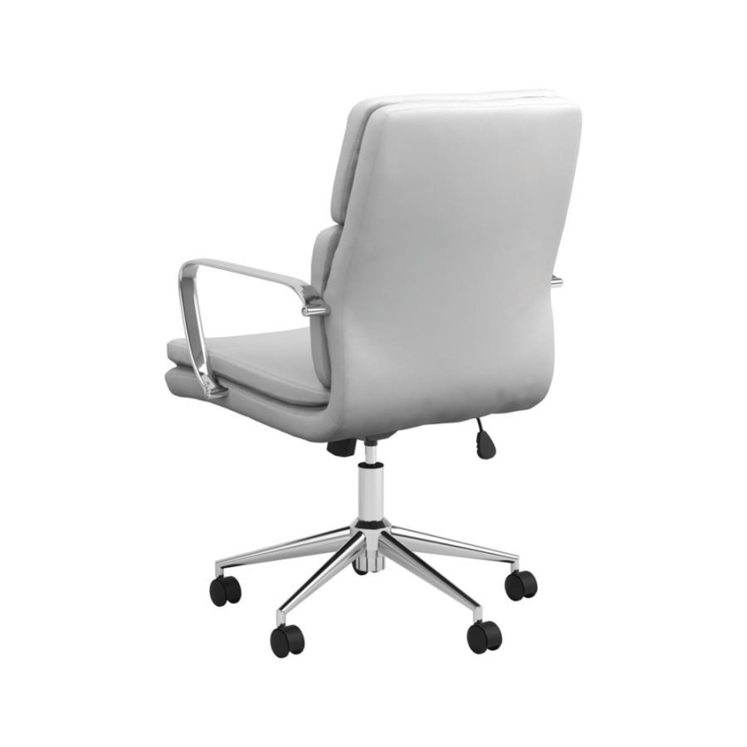 Office Chair In White Leatherette & Chrome Finish - image-3