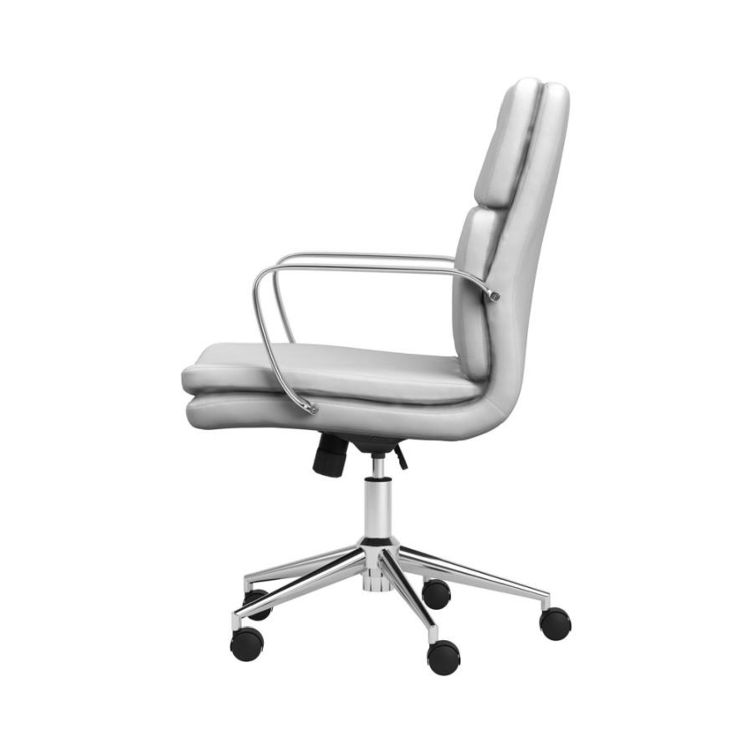 Office Chair In White Leatherette & Chrome Finish - image-2