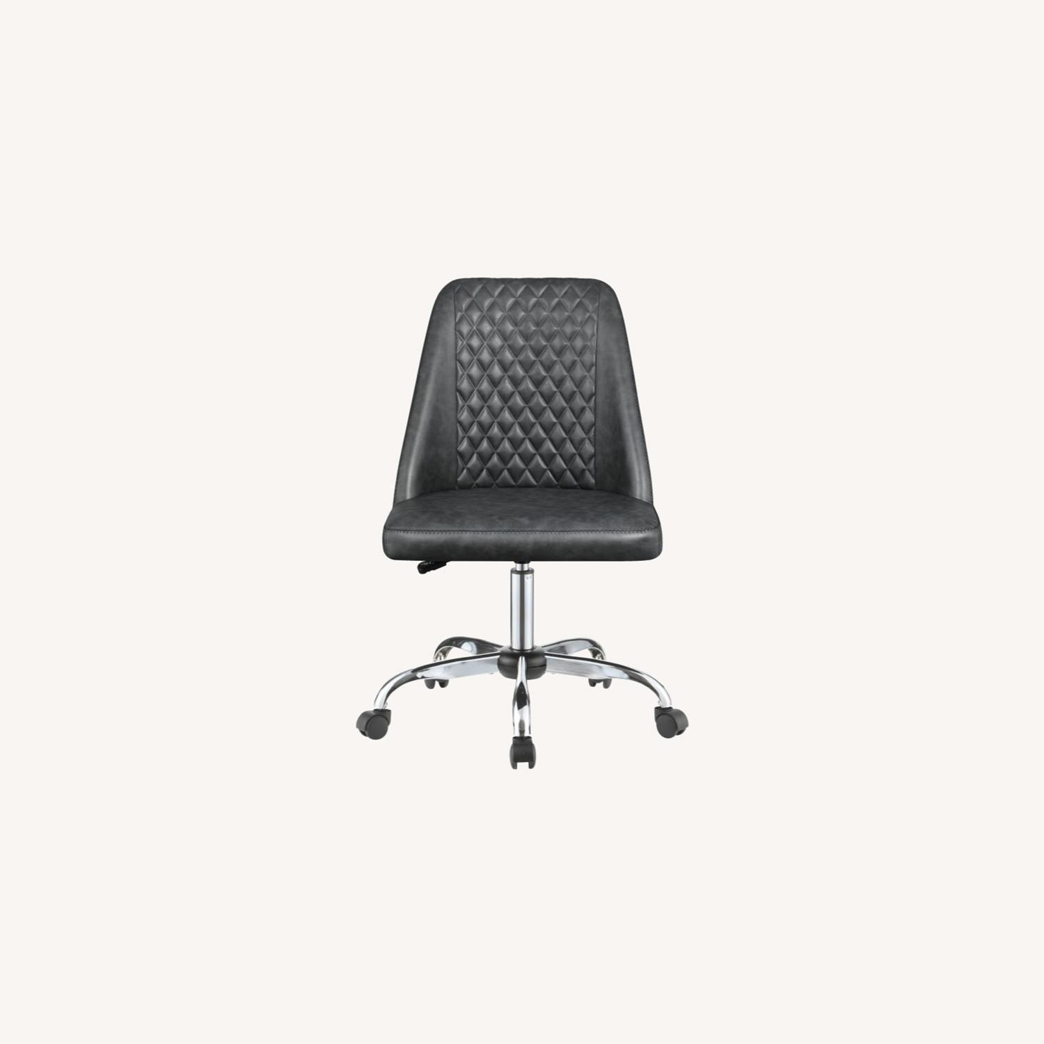 Office Chair In Tufted Grey Leatherette Upholstery - image-9