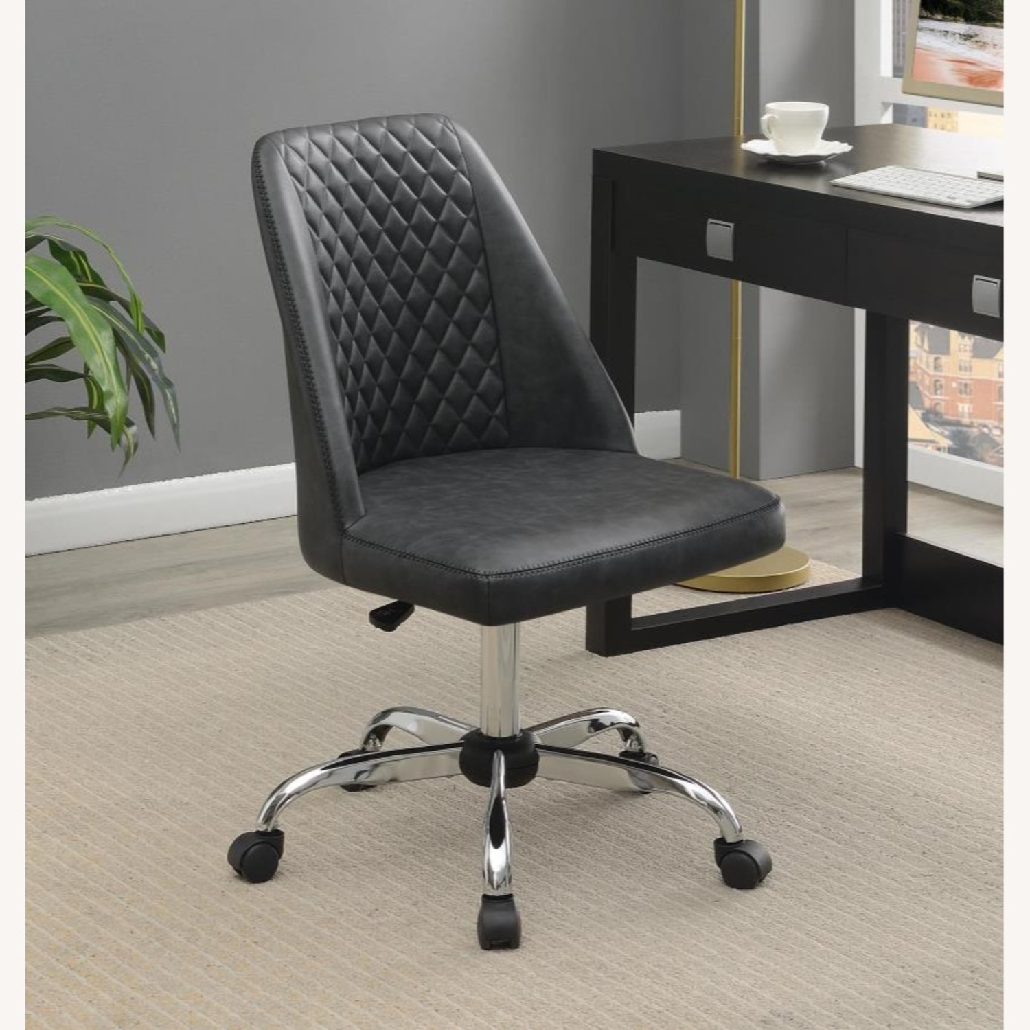 Office Chair In Tufted Grey Leatherette Upholstery - image-7