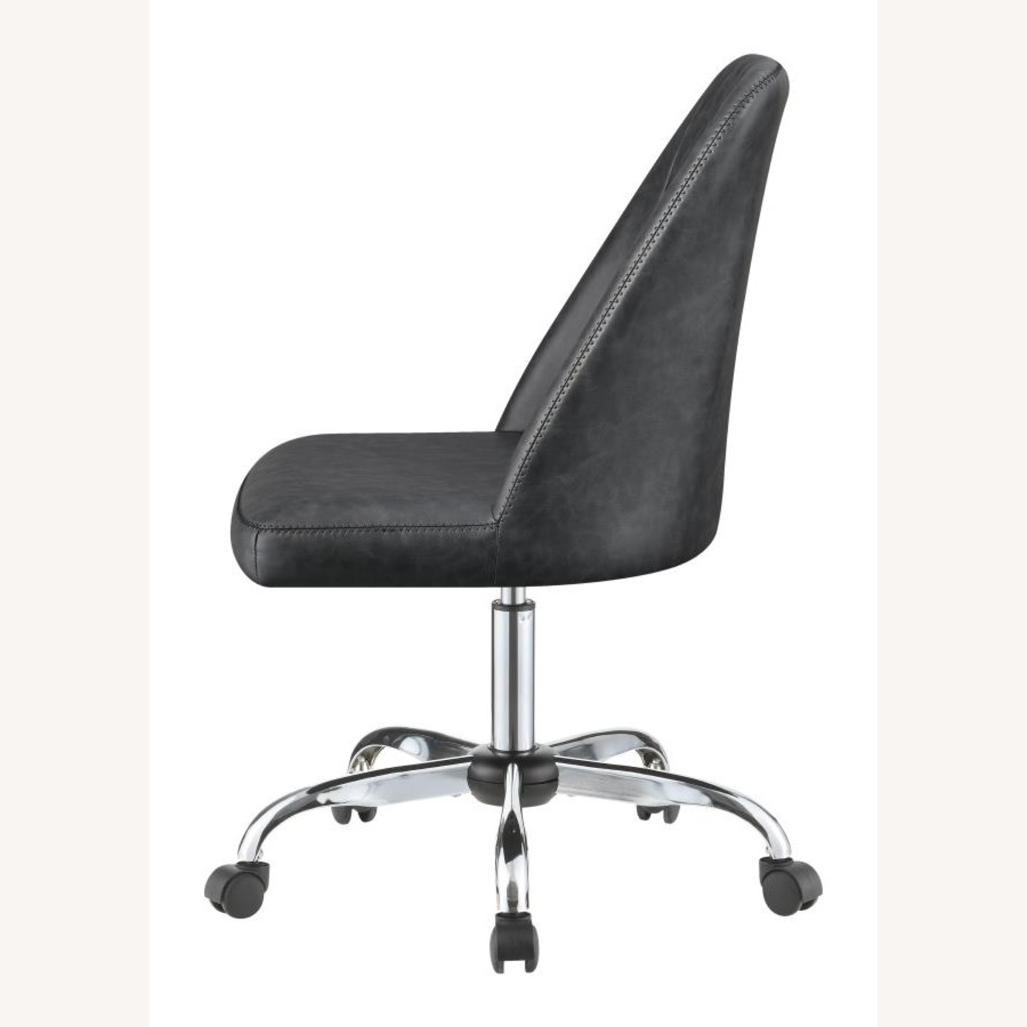 Office Chair In Tufted Grey Leatherette Upholstery - image-2