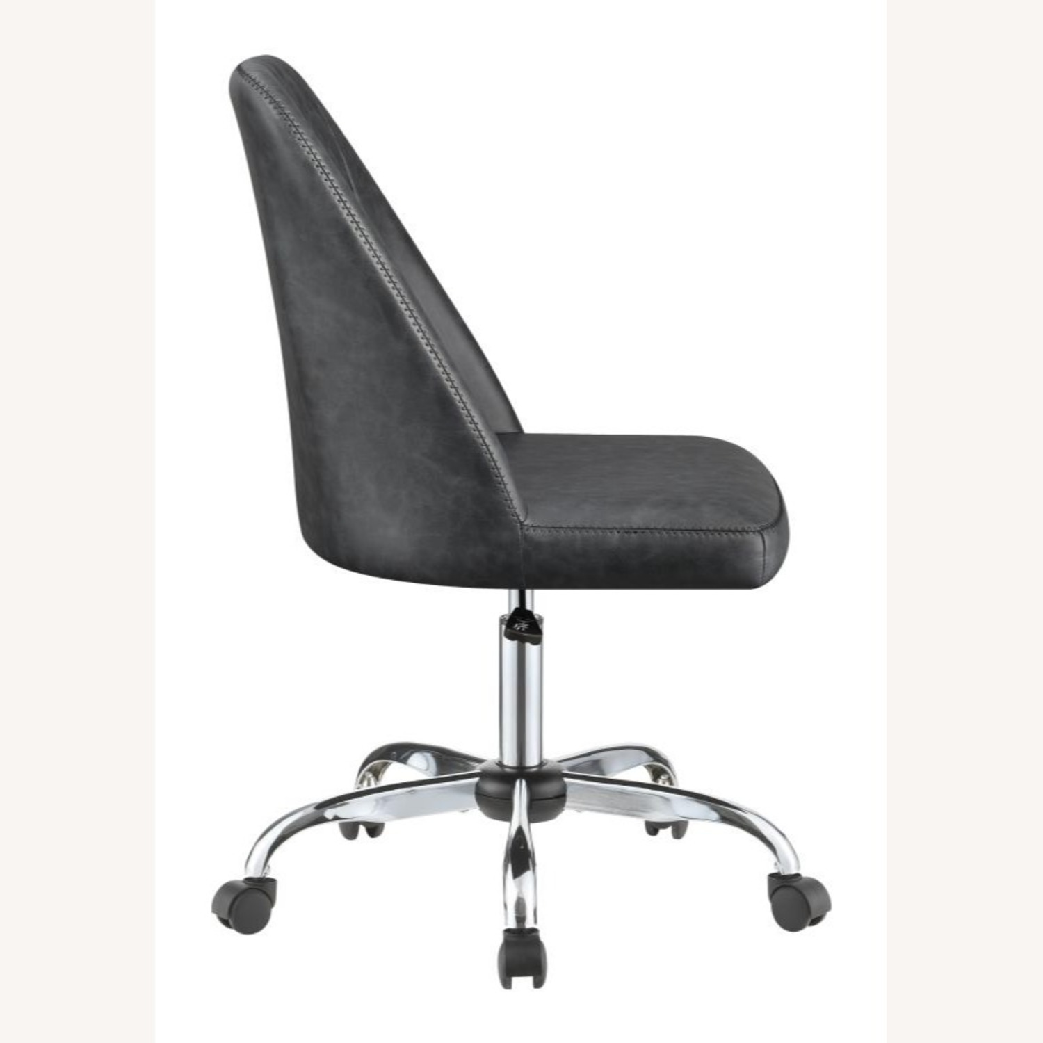 Office Chair In Tufted Grey Leatherette Upholstery - image-5