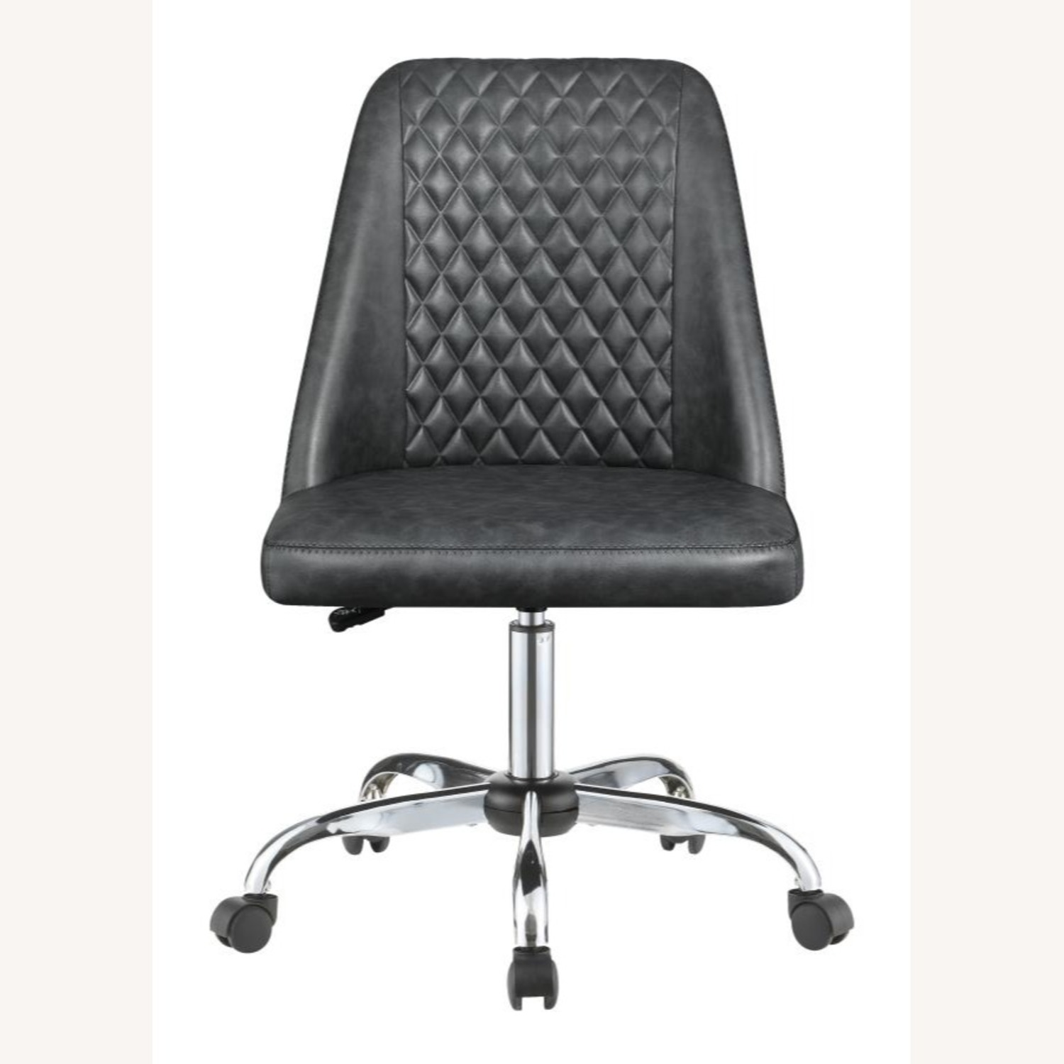 Office Chair In Tufted Grey Leatherette Upholstery - image-1