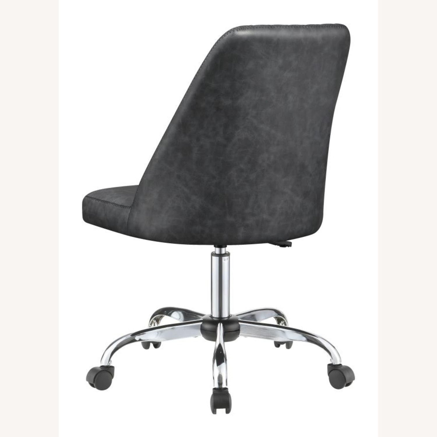 Office Chair In Tufted Grey Leatherette Upholstery - image-3