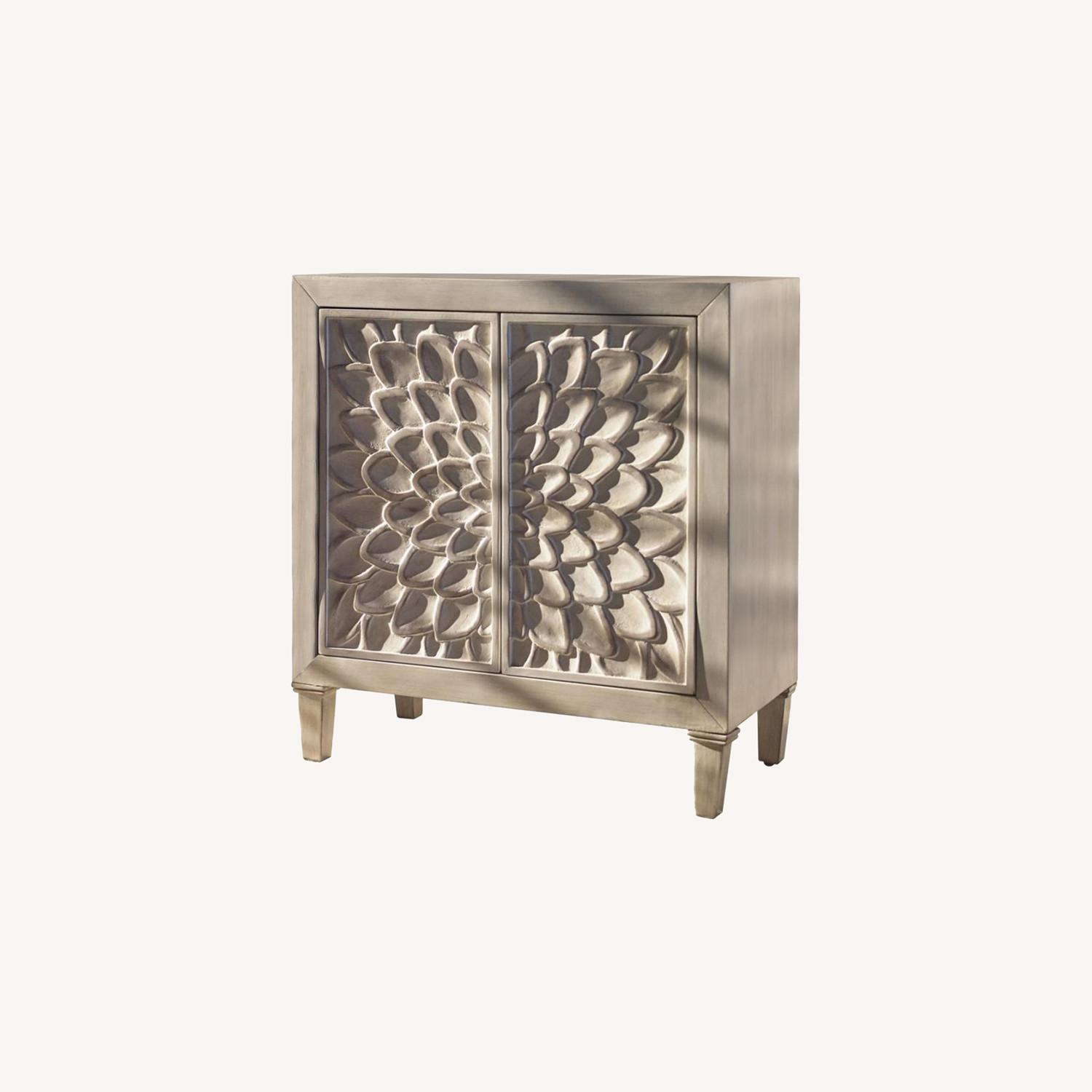 Accent Cabinet In Distressed White Wood Finish - image-3