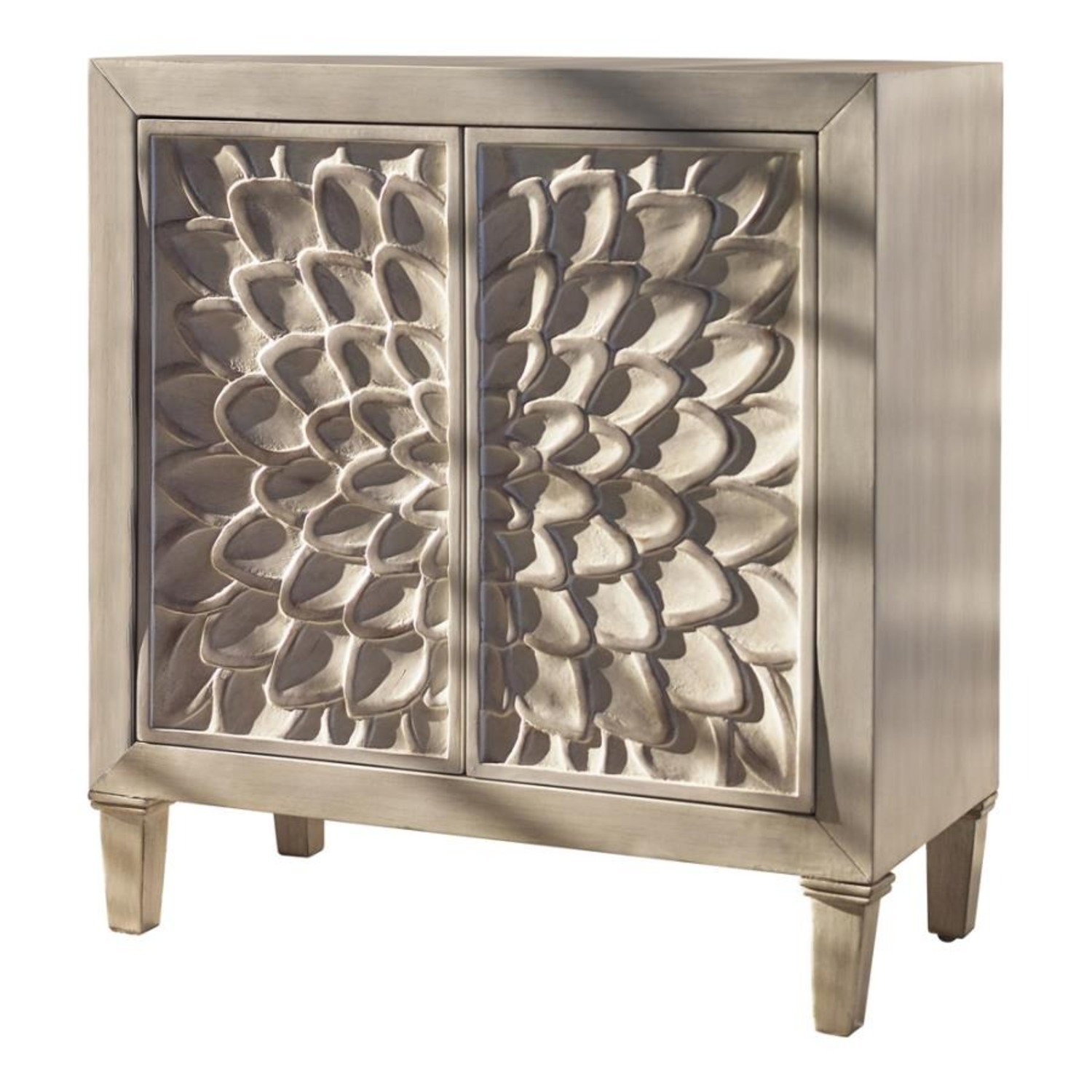 Accent Cabinet In Distressed White Wood Finish - image-0