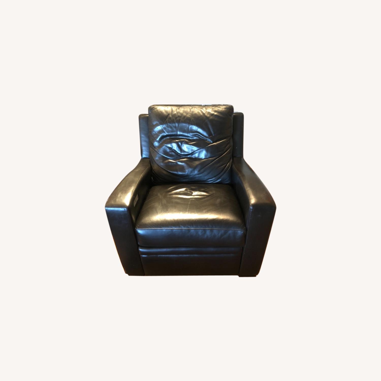 Century Furntiure Custom Black Leather Recliner - image-0