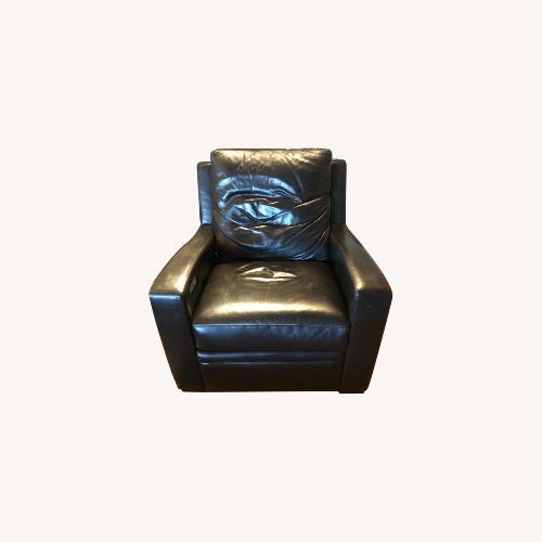 Used Century Furntiure Custom Black Leather Recliner for sale on AptDeco