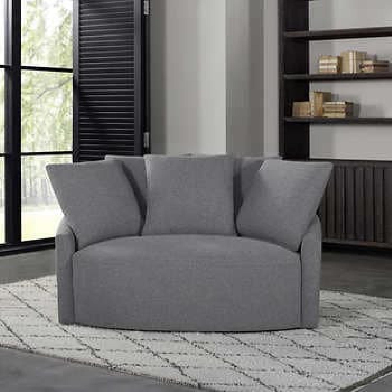 Thomasville Fabric Swivel Chair - image-5
