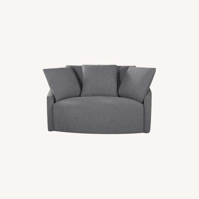 Thomasville Fabric Swivel Chair - image-0