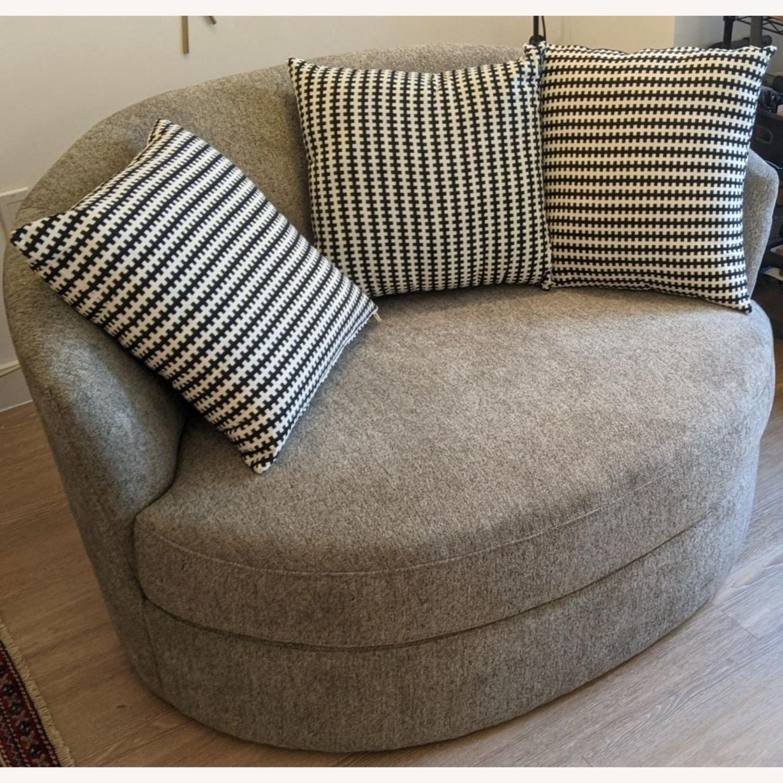 Thomasville Fabric Swivel Chair - image-1