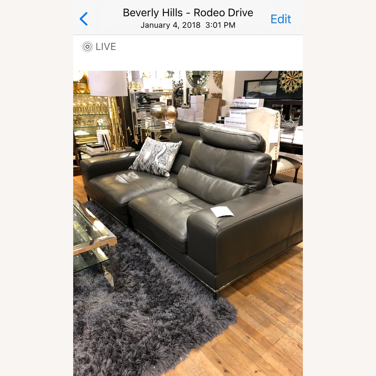 Z Gallerie Jude Leather Sofa - image-2
