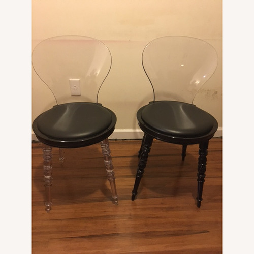 Used Set of 2 Designer Acrylic Chairs Faux Leather Seat for sale on AptDeco