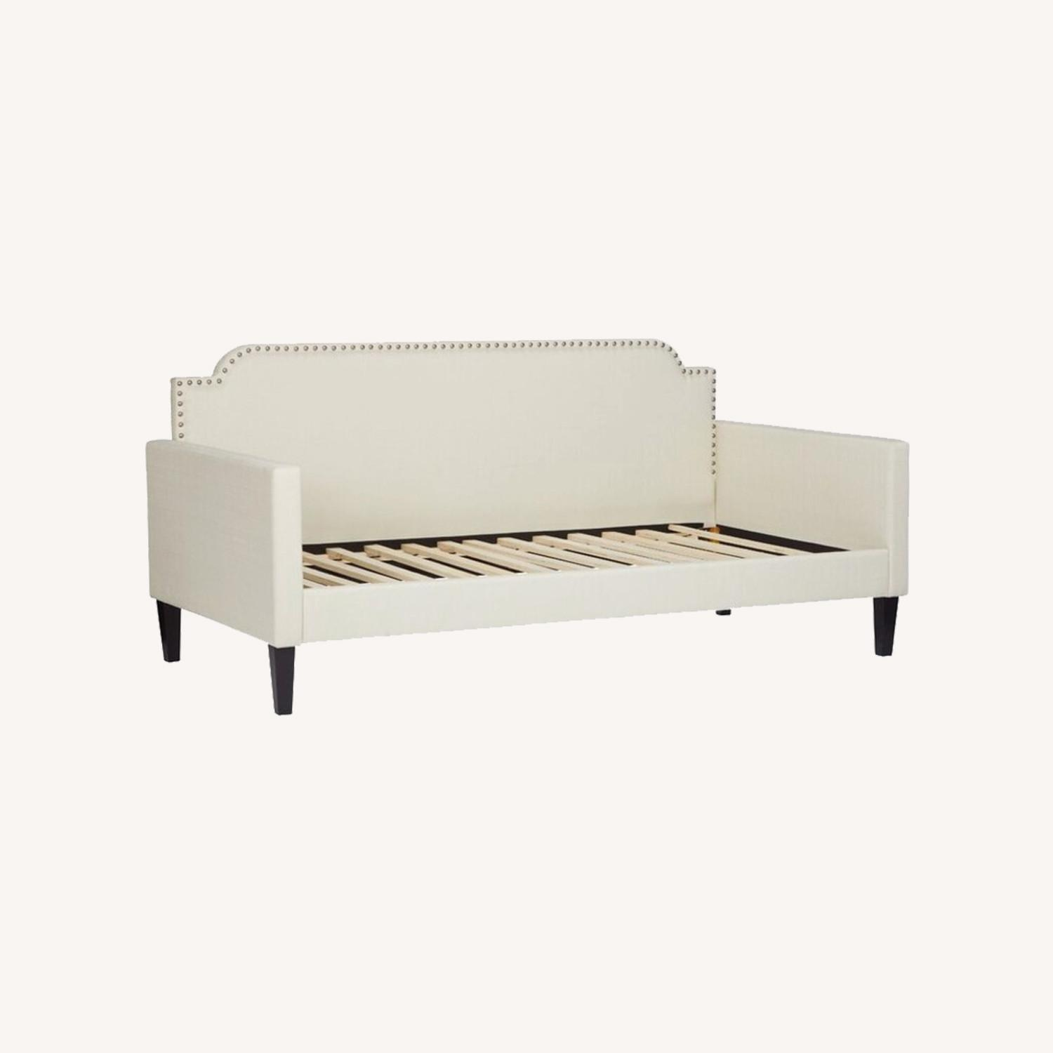 Cream Daybed with Silver Nailhead Trim - image-0