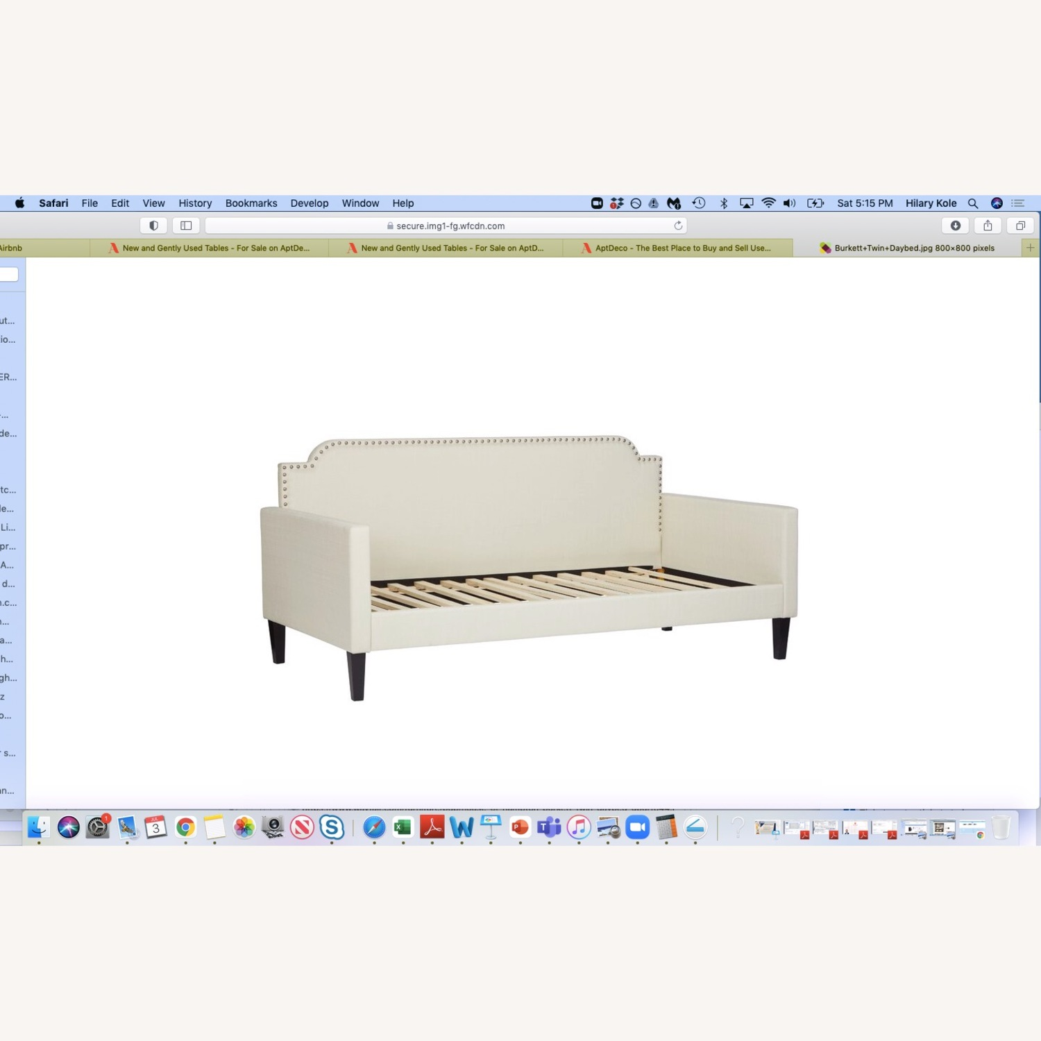 Cream Daybed with Silver Nailhead Trim - image-1