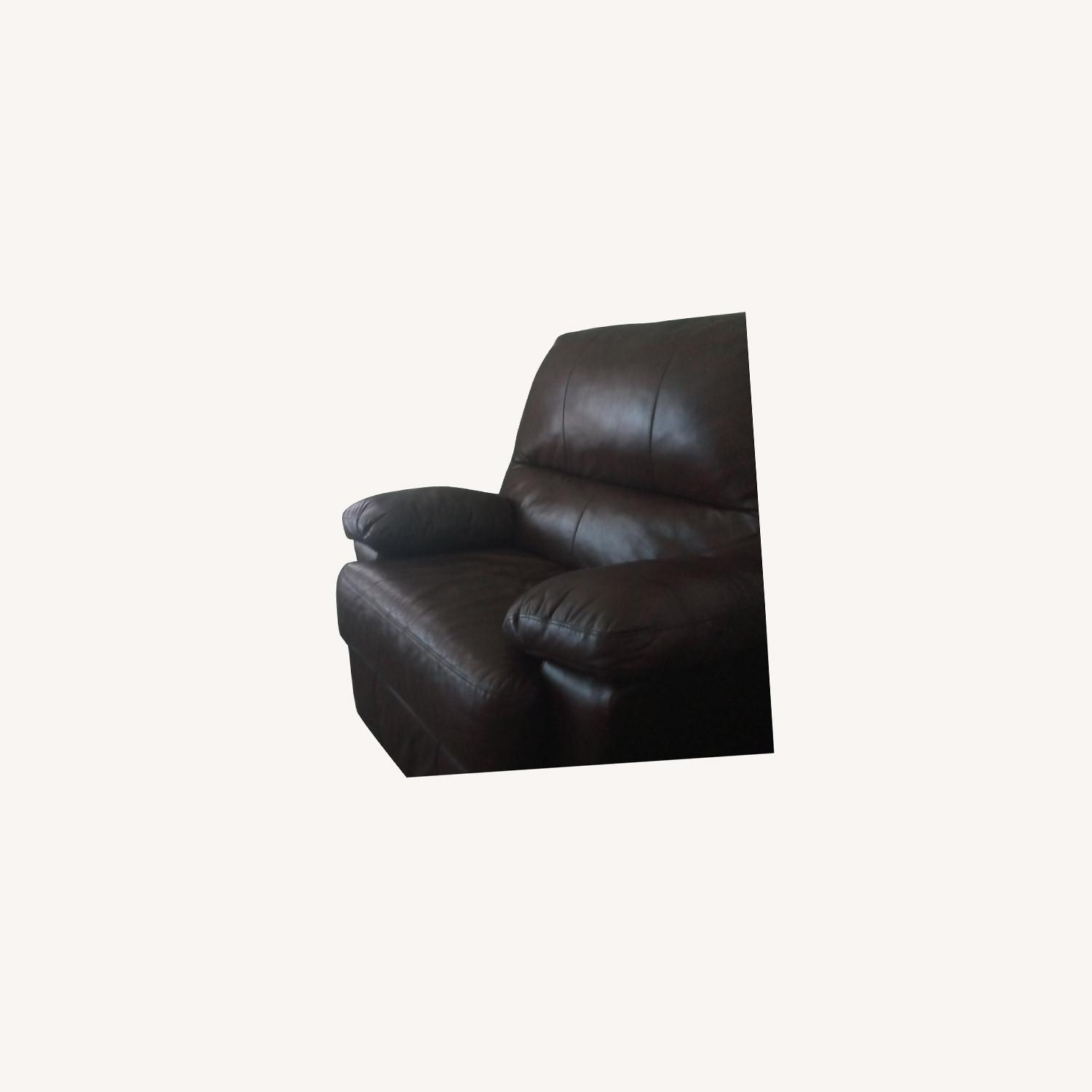 Brown Leather Soft Recliner Chair - image-0