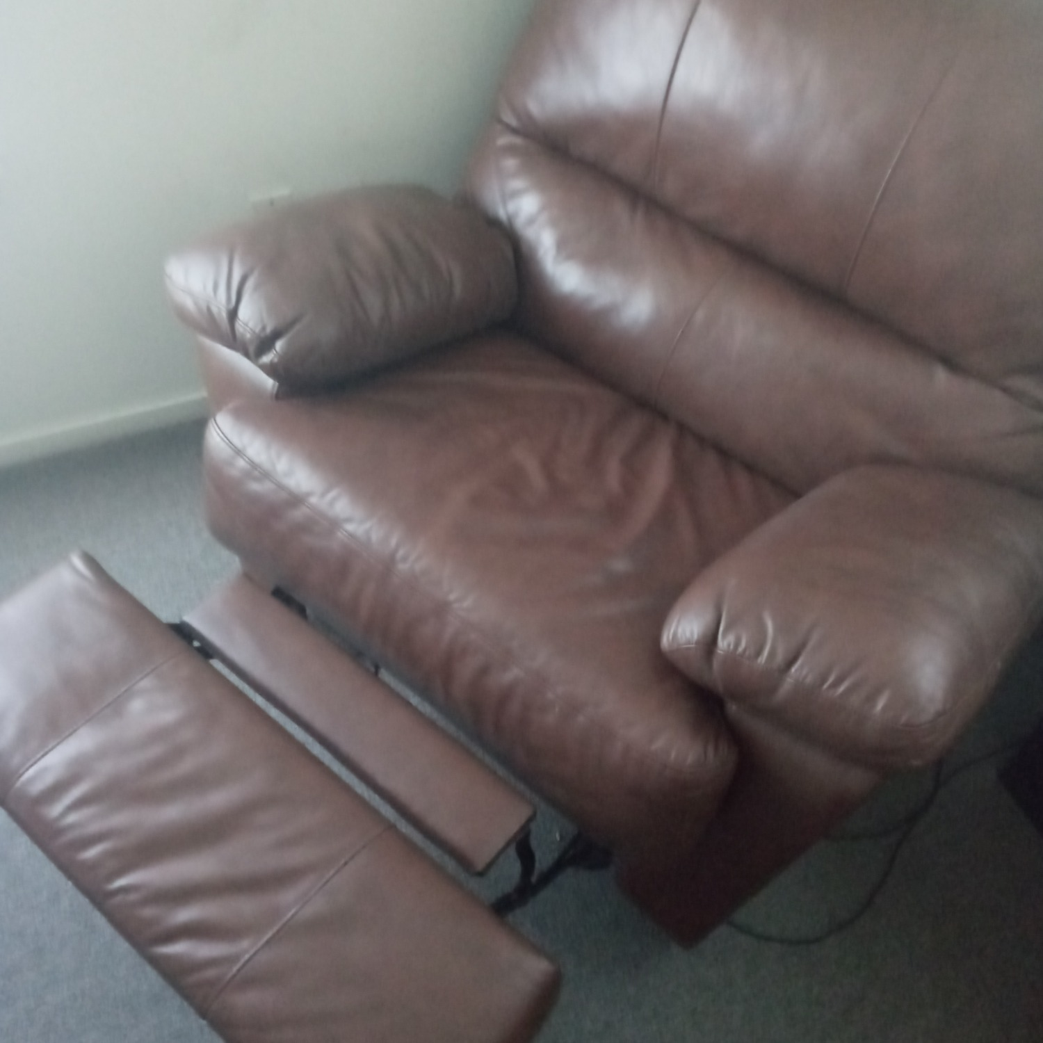 Brown Leather Soft Recliner Chair - image-1