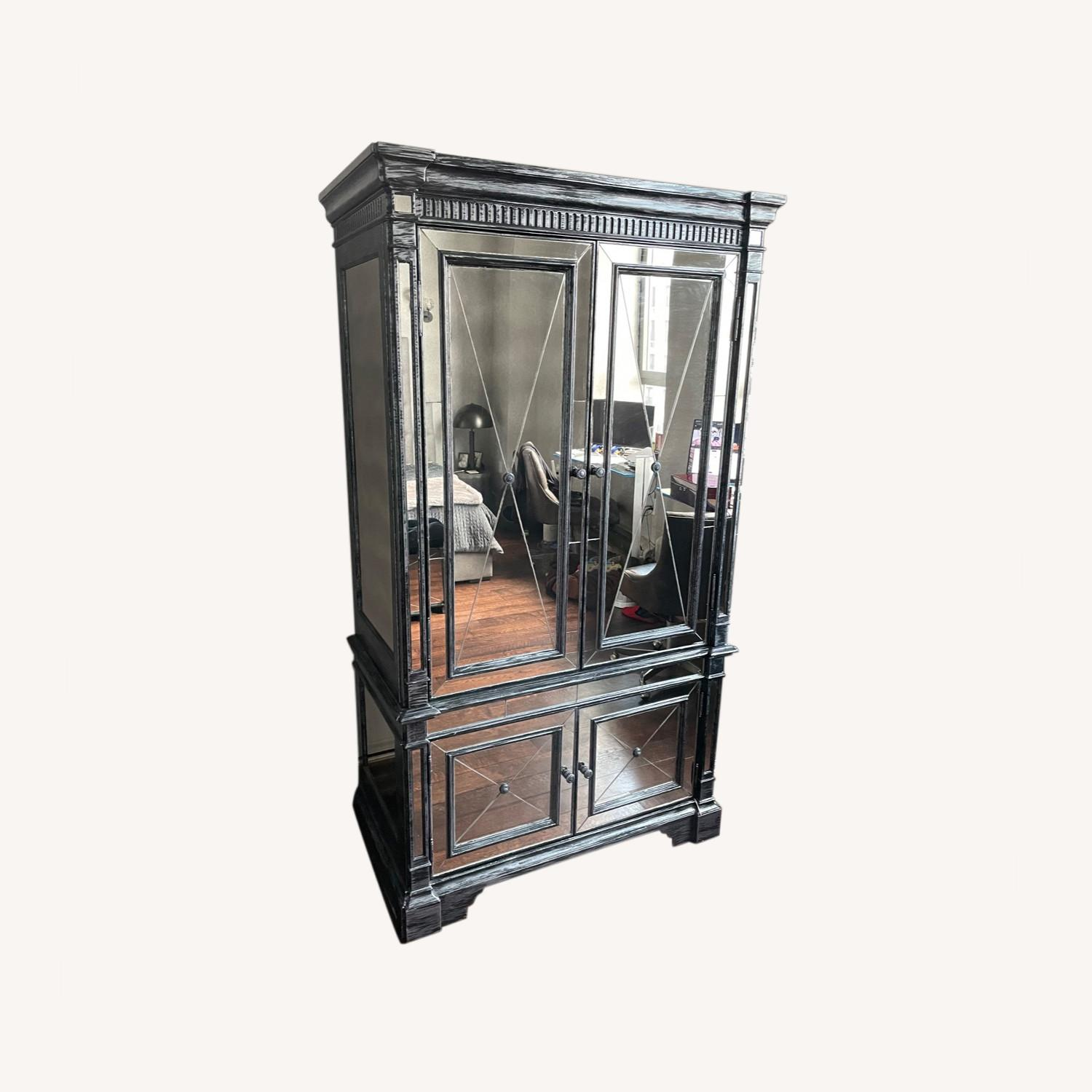 Horchow Antique Mirrored Armoire/Storage Cabinet - image-0