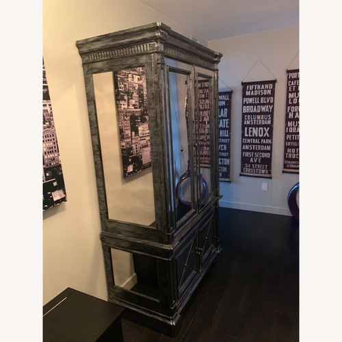 Used Horchow Antique Mirrored Armoire/Storage Cabinet for sale on AptDeco