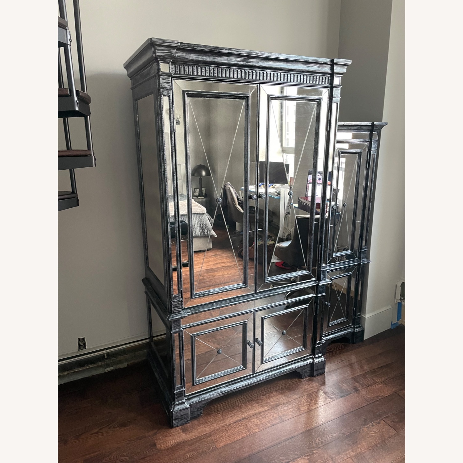 Horchow Antique Mirrored Armoire/Storage Cabinet - image-2