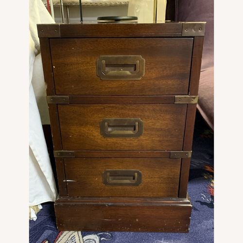 Used MAHOGANY & BRASS 3 Drawer Chest/Side Table for sale on AptDeco